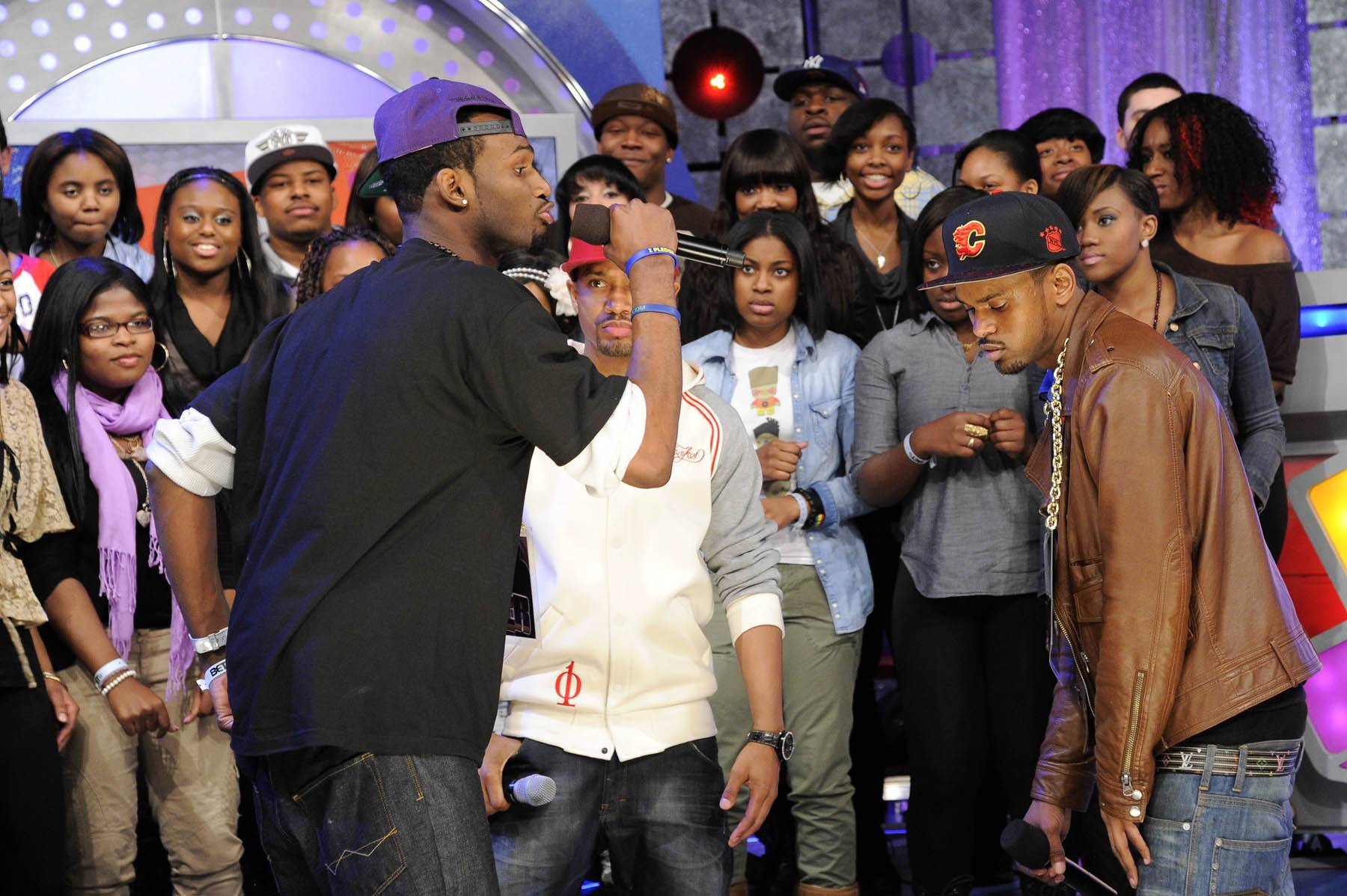 Round Two, Baby - In round two, Freestyle Friday challenger Rio the Raptor spits at 106 & Park, January 27, 2012. (Photo: John Ricard / BET)