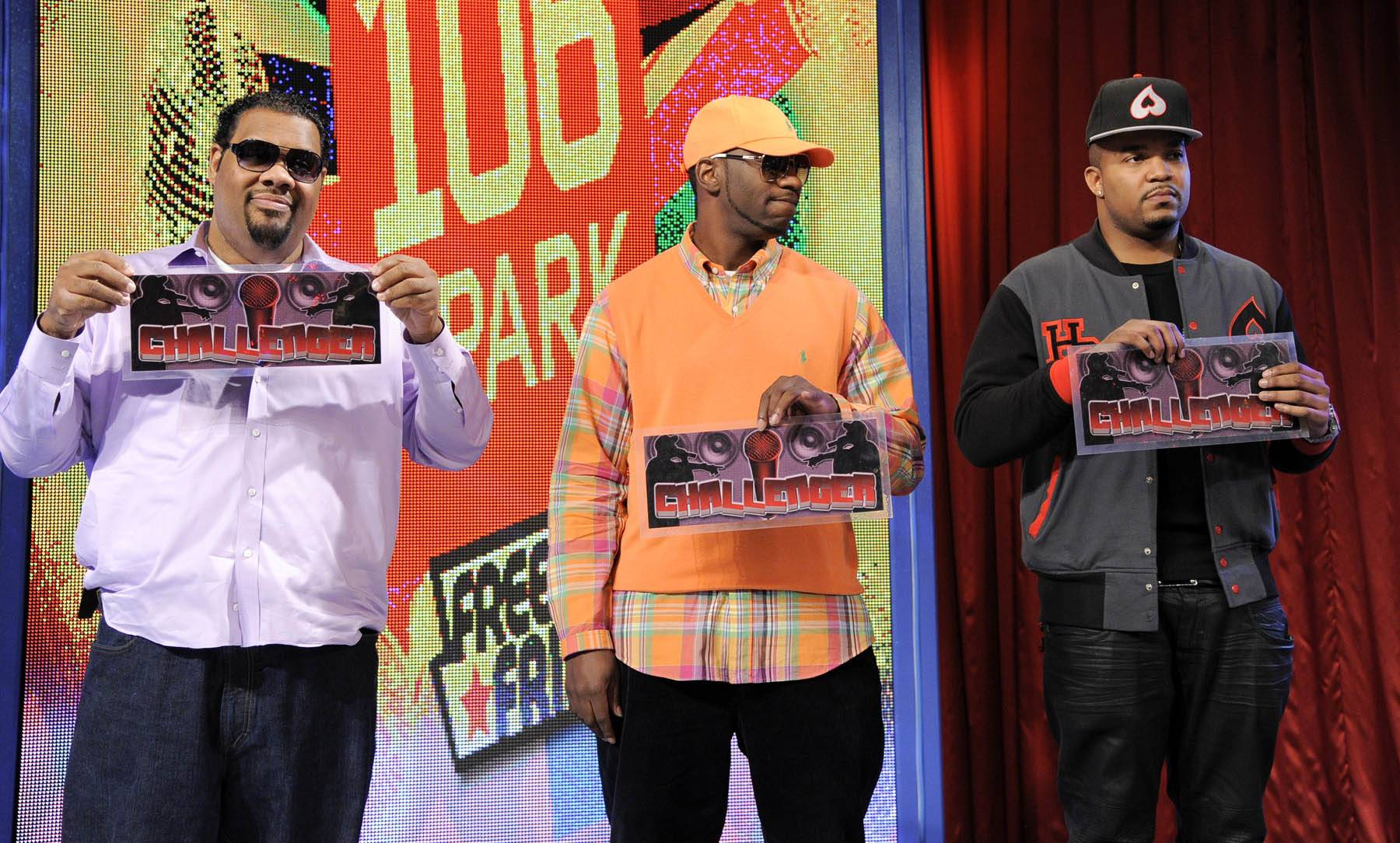 Give It to J. Dose - Freestyle Friday judges Fatman Scoop, Young Dro and DJ Boof decide in favor of J. Dose at 106 & Park, January 27, 2012. (Photo: John Ricard / BET)