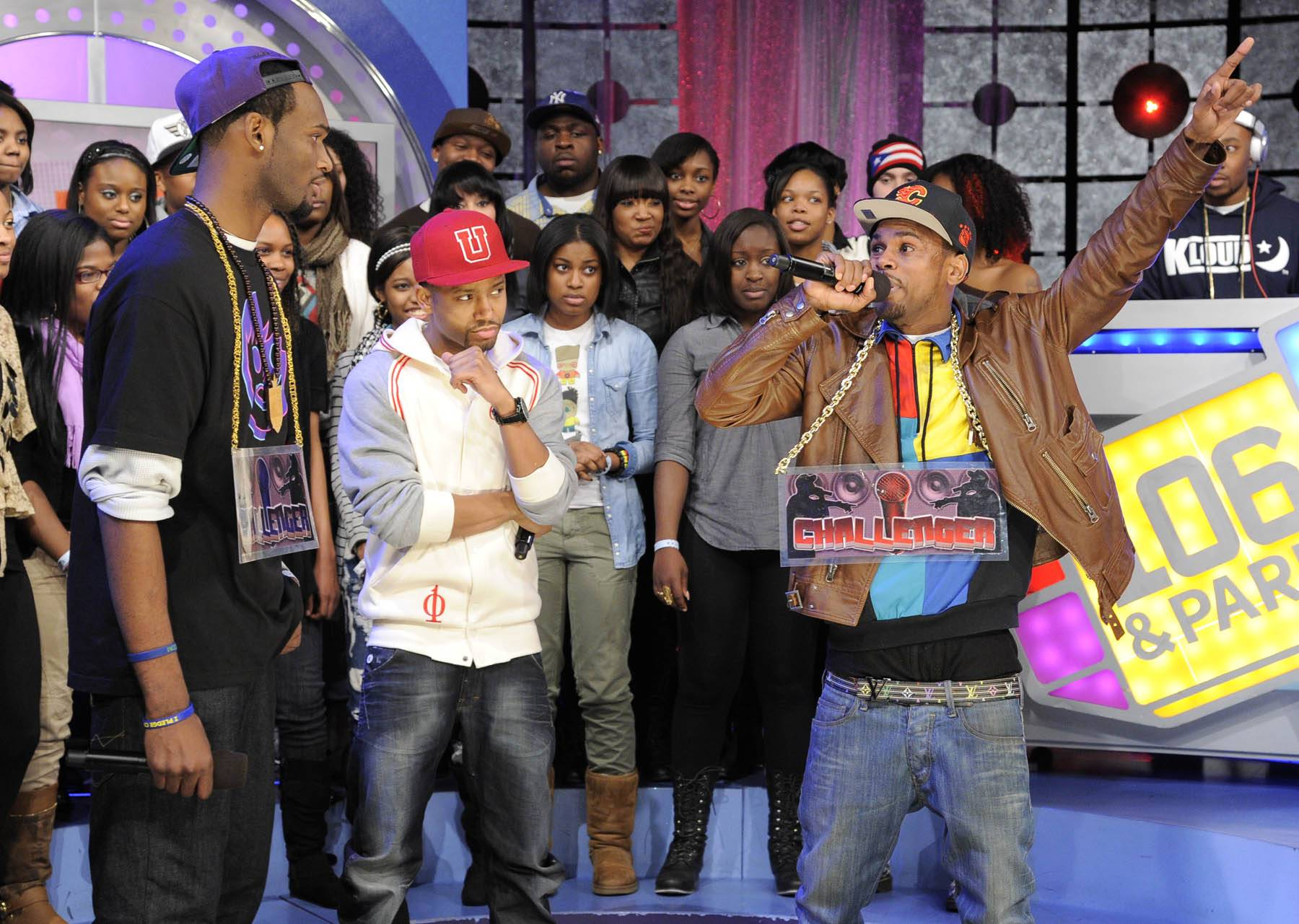Hands Up - Freestyle Friday challenger J Dose battles at 106 & Park, January 27, 2012. (Photo: John Ricard / BET)
