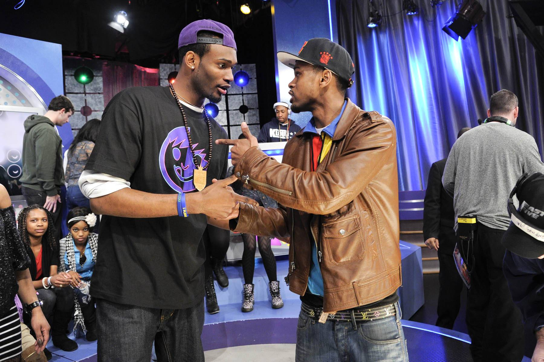 It's All Good - Proving that it is all good in the end, Freestyle Friday competitors Rio the Raptor and J. Dose discuss their battle at 106 & Park, January 27, 2012. (Photo: John Ricard / BET)