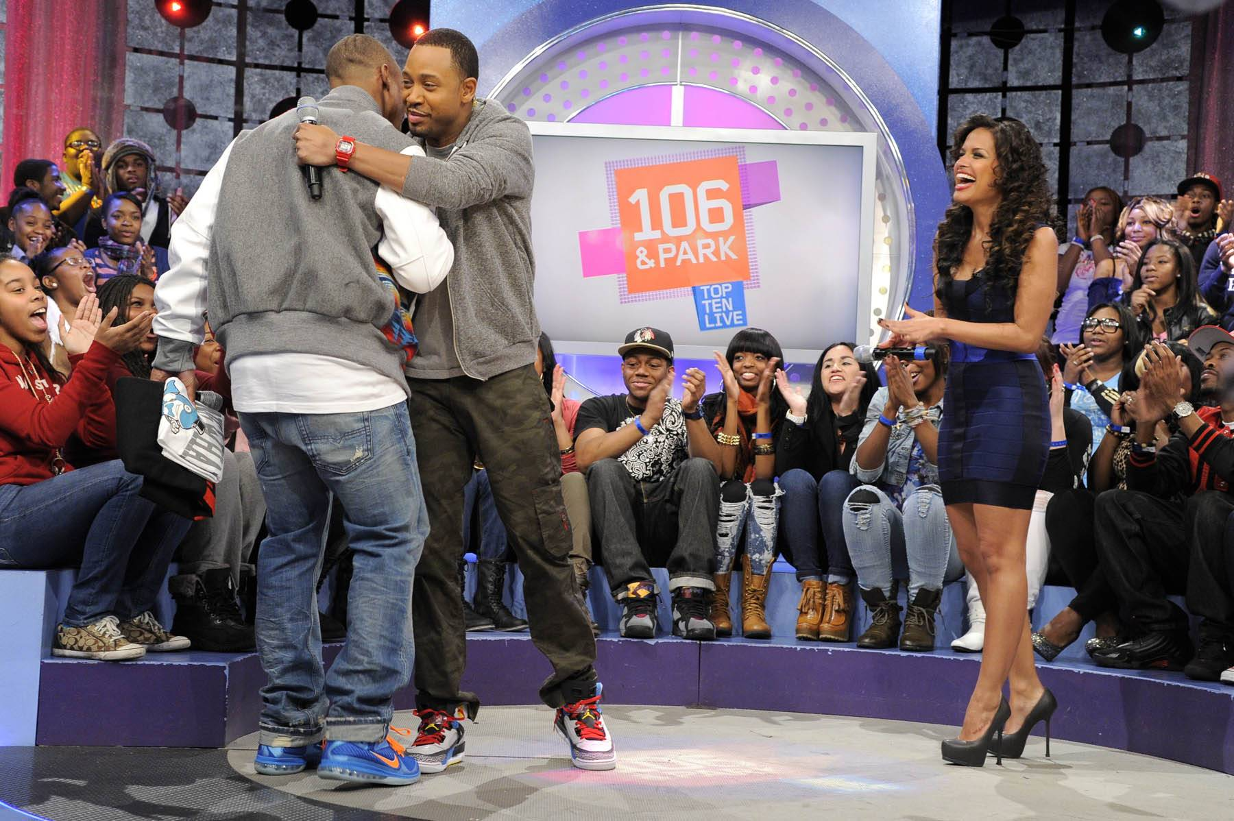 Show Me Love - NY Giants wide receiver Victor Cruz takes the stage at 106 & Park, January 26, 2012. (Photo: John Ricard / BET)