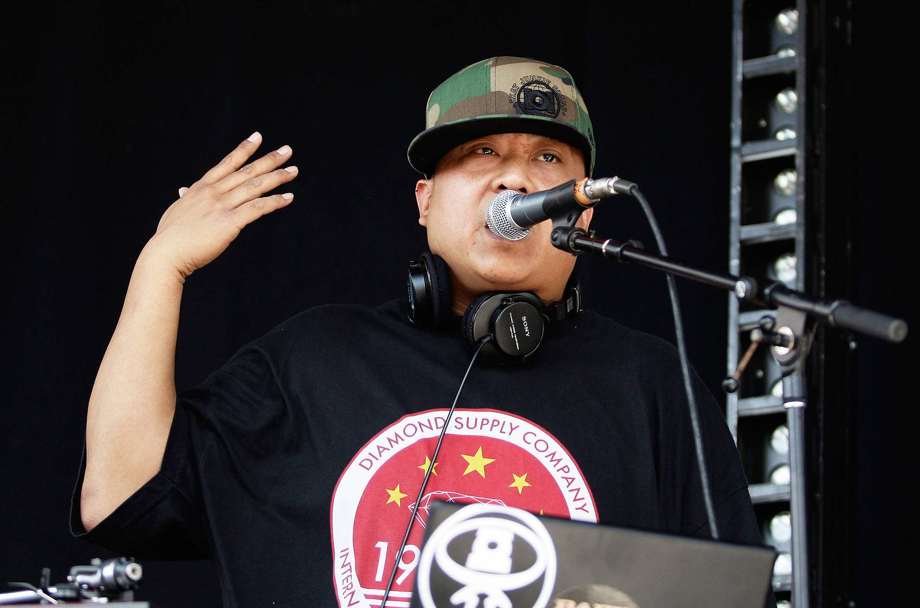 """50. DJ Babu - Cali icon DJ Babu is widely credited with inventing the term """"turntablist."""" He was a leading figure in the West Coast's late-'90s DJ resurgence, known for his masterful beat juggling, before he joined up with indie-rap favorites Dilated Peoples. (Photo: Brendon Thorne/Getty Images)"""