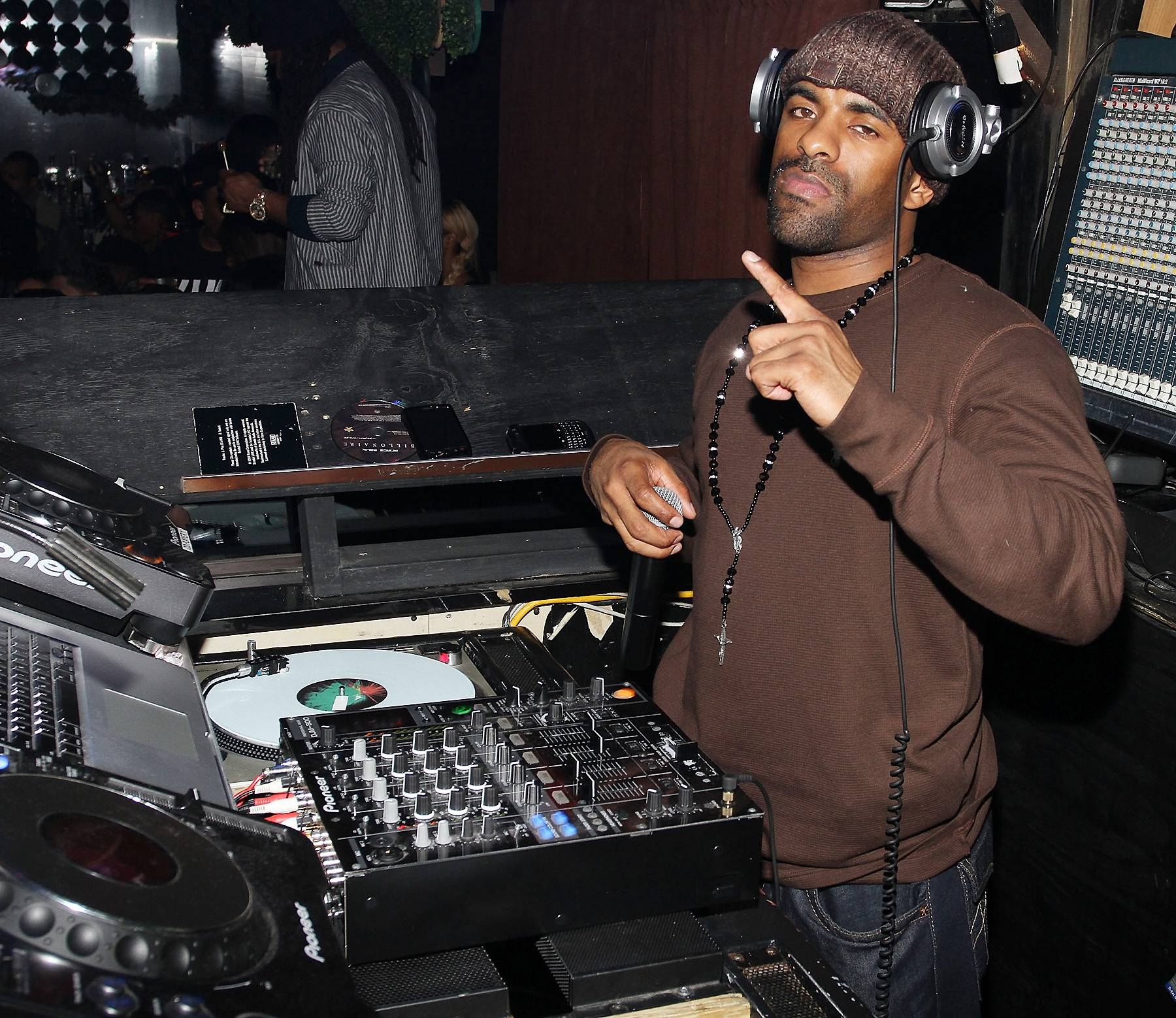 11. DJ Clue - DJ Clue changed the mixtape medium forever with his mid-'90s releases, which emphasized breaking new, exclusive music instead of showcasing mixing and scratching skills, as the first wave of tapes did. He was one of the first mixtape DJs to graduate to major-label albums; his 1998 debut, The Professional, went platinum. Later, his label, Desert Storm Entertainment, broke the careers of Joe Budden and Fabolous. And through it all, he's been a mainstay on NYC's radio-waves and club circuit.  (Photo: Jerritt Clark/Getty Images)