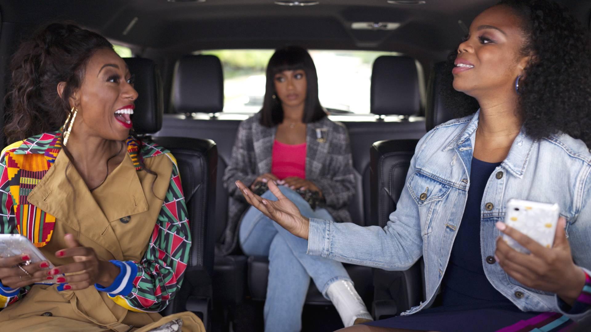 LaLa Milan, Tetona Jackson and Brittany Inge share a moment. - (Photo: BET)