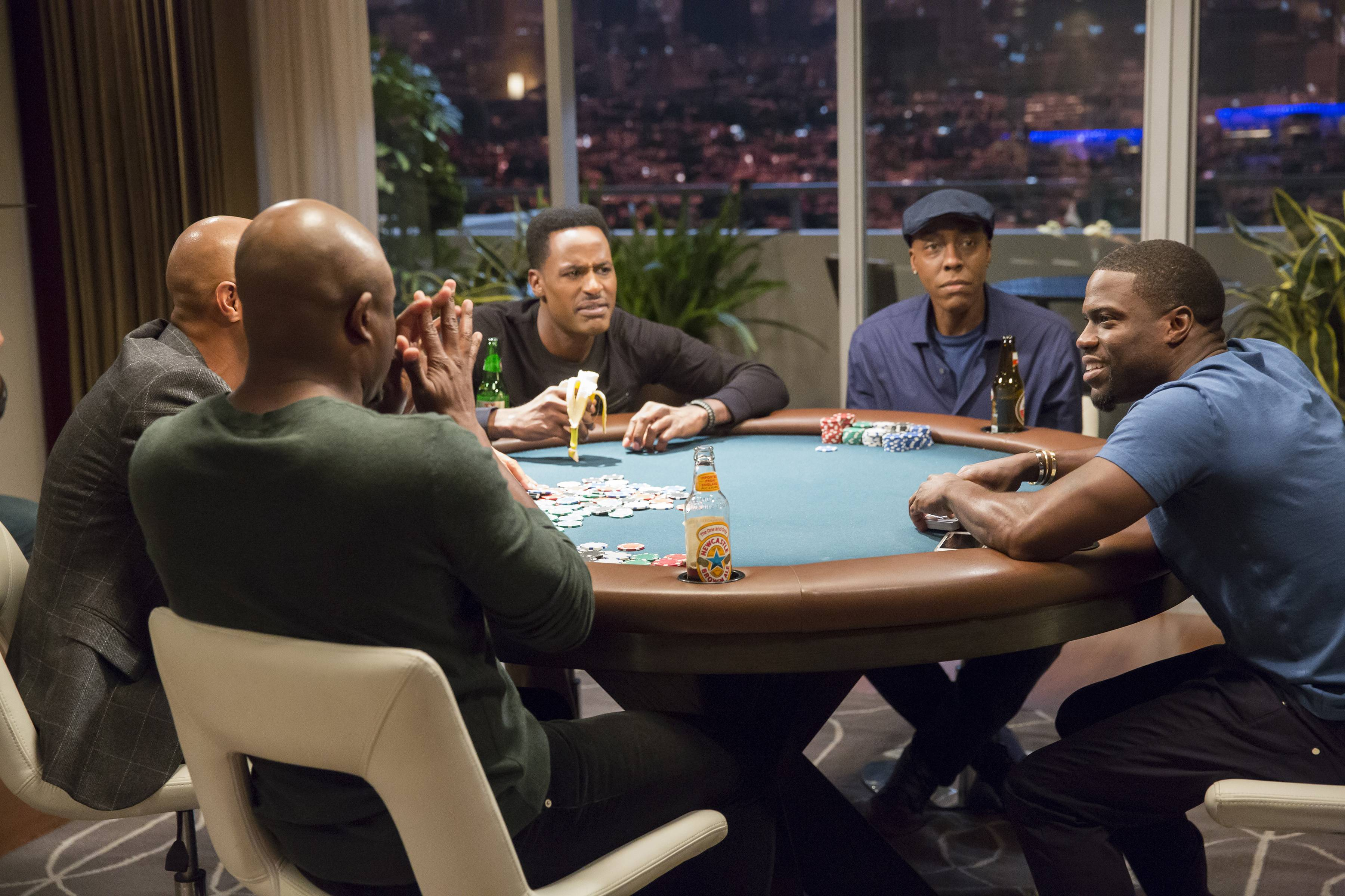 Kevin gets whipped in poker but isn't crying like a lil' mitch this time. - (Photo: BET)