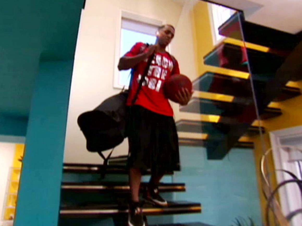 Final Exit - Brandon descends the stairs with his bags. It's a season to be remembered.