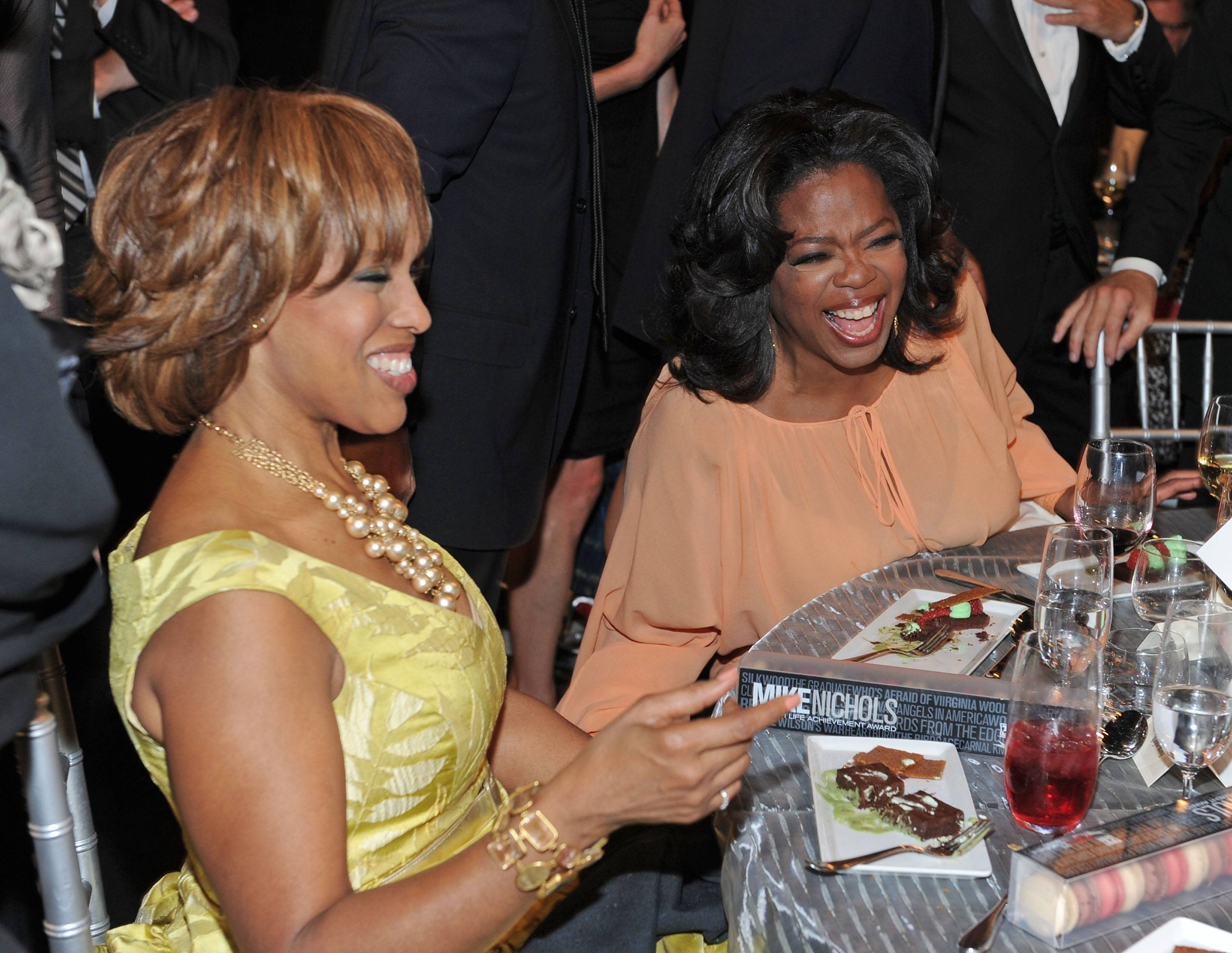 Gayle King & Oprah Winfrey - Oprah nipped rumors of them being lesbians in the bud?Gayle is like a sister to her. Oprah always has her trusty pal close by and she makes sure Gayle stays gainfully employed. (Photo: Frazer Harrison/Getty Images for AFI)