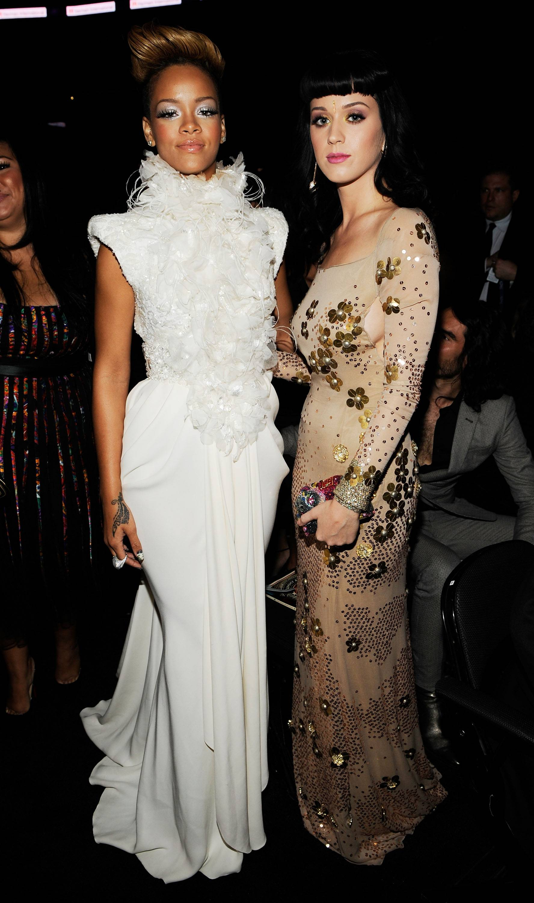 Rihanna & Katy Perry - Can you imagine the conversation between two of the biggest pop stars in the world? Rihanna and Katy Perry are attached at the hip when the pair isn?t touring or in the studio.(Photo: Larry Busacca/Getty Images for NARAS)