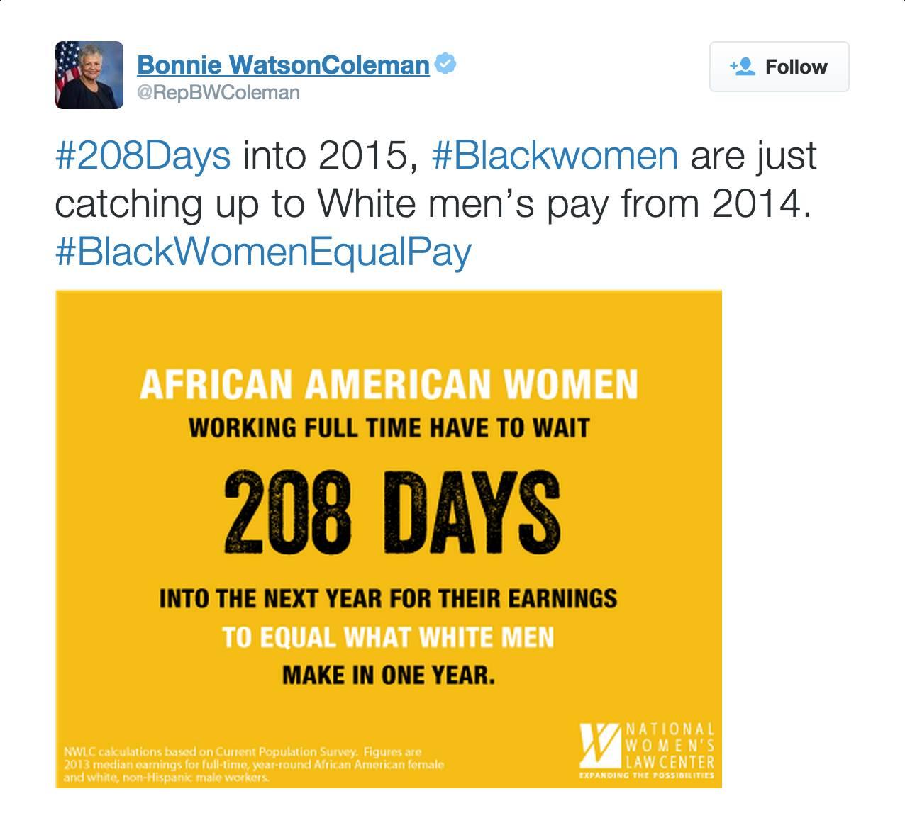@RepBWColeman - (Photo: National Women's Law Center via Bonnie Watson Coleman via Twitter)