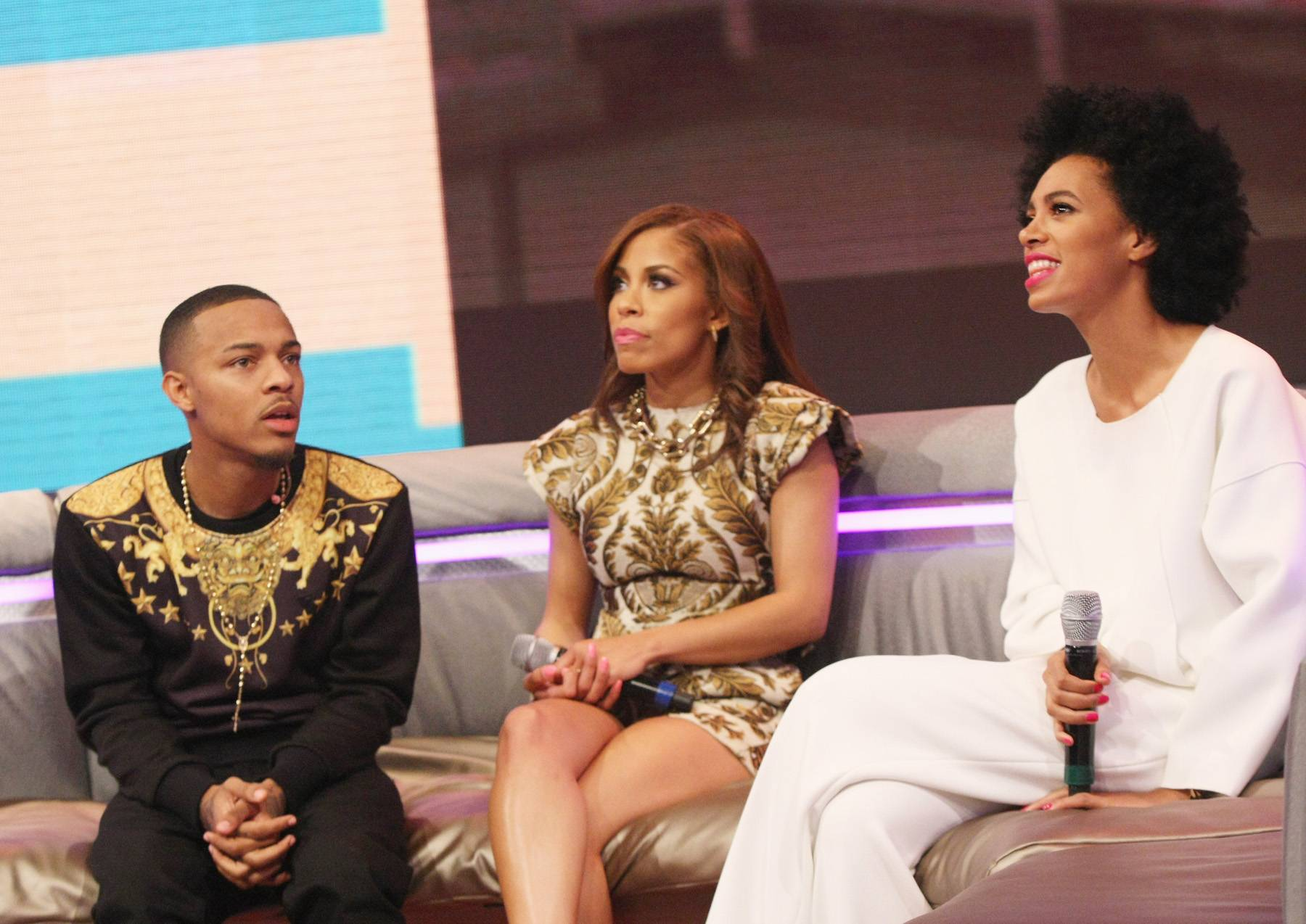 In a Daze - Bow Wow, Keshia Chante and Solange Knowles caught during a break on 106.(Photo: Bennett Raglin/BET/Getty Images for BET)
