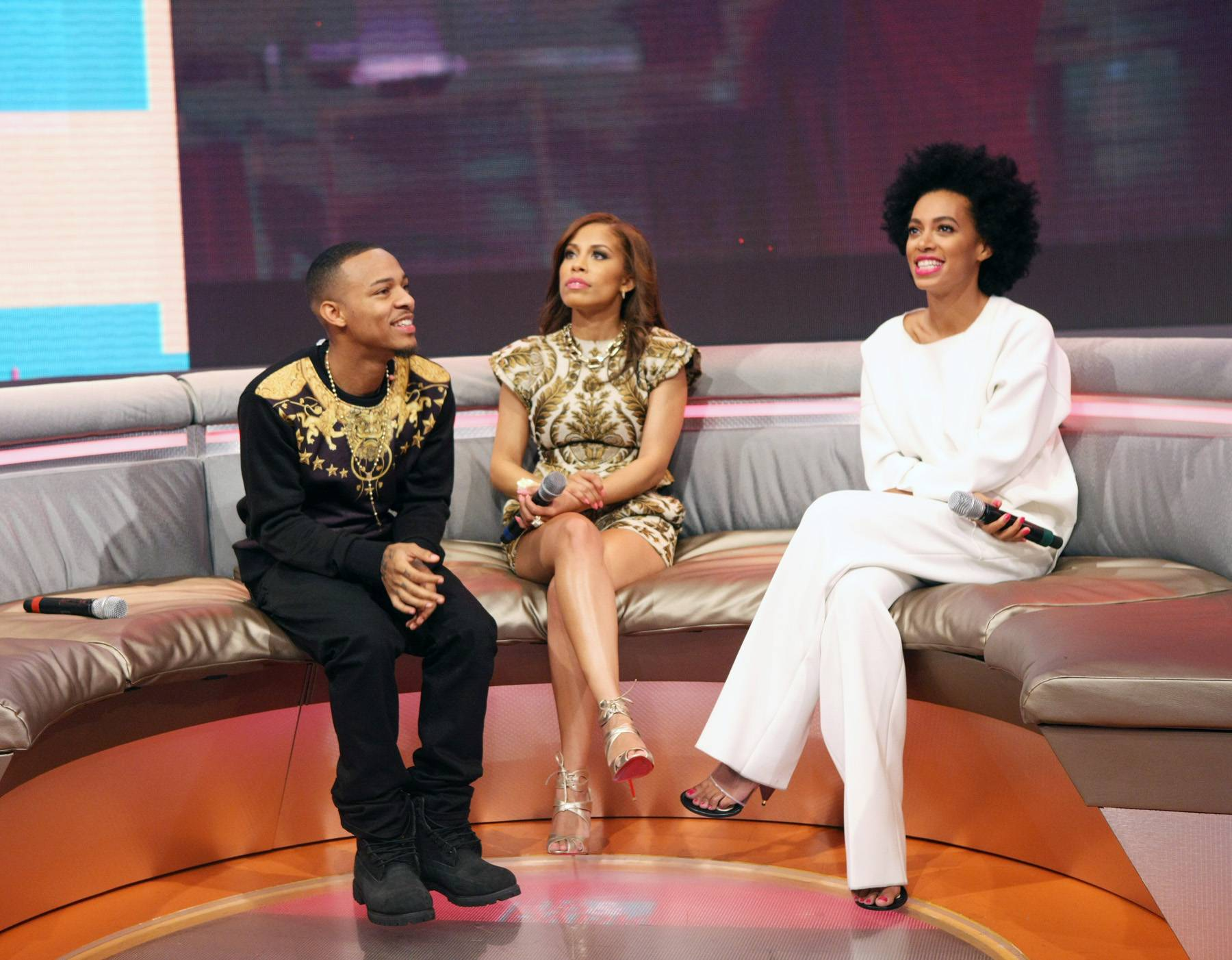 Good Vibes - Bow Wow, Keshia Chante and Solange Knowles all get acquainted while on the 106 stage.(Photo: Bennett Raglin/BET/Getty Images for BET)