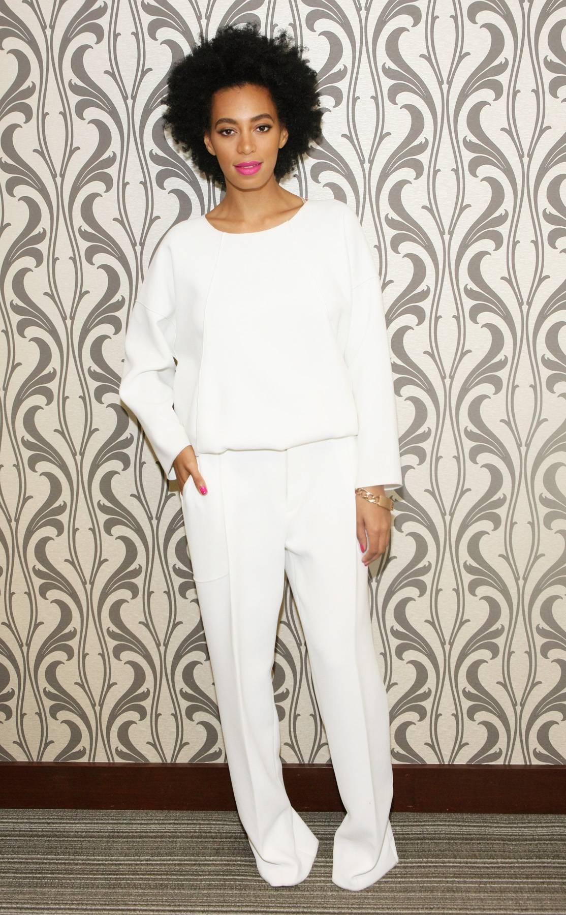 White Hot - Stepping out in a matching 10 Crosby Derek Lam blouse and trousers, Ms. Knowles puts her own spin on the head-to-toe white trend. We likely.  (Photo: Bennett Raglin/BET/Getty Images for BET)