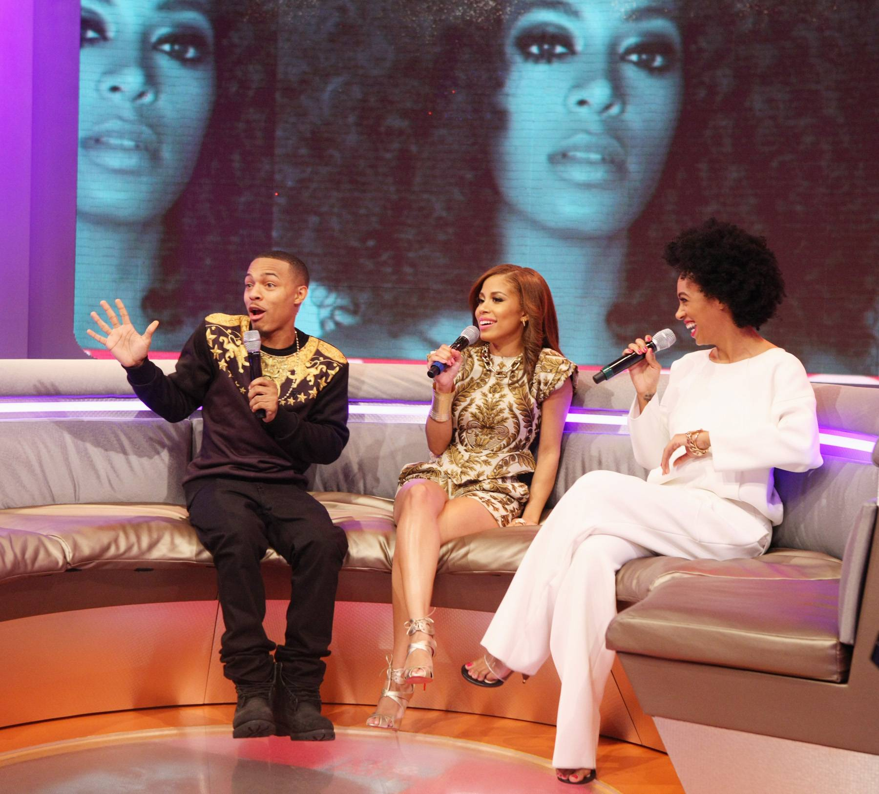 Pow! - The energy between Bow Wow, Keshia Chante and Solange Knowles fills the room as they talk new music. (Photo: Bennett Raglin/BET/Getty Images for BET)