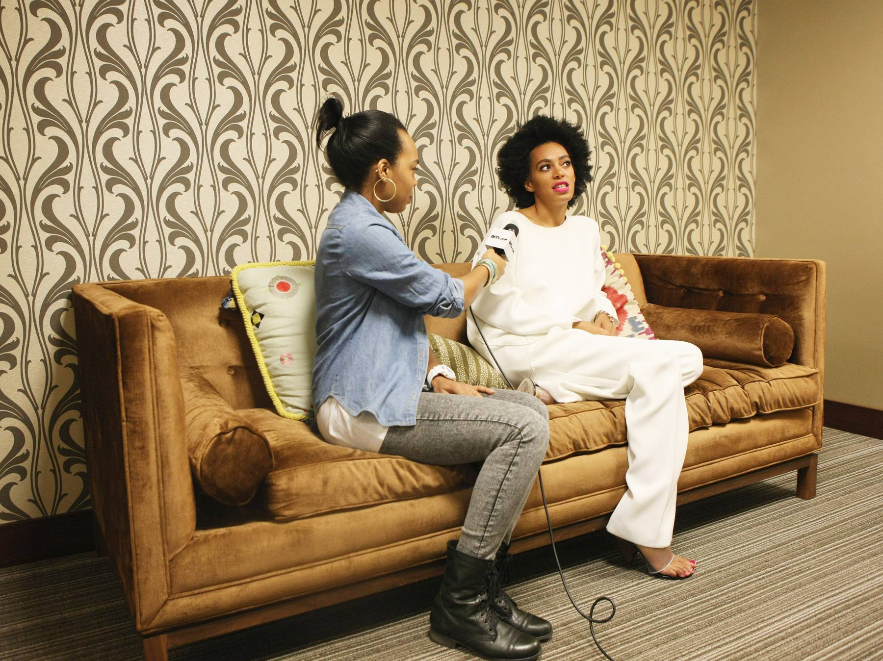 Talk Back - Taj Rani of BET.com with Solange Knowles, asking about her new EP True backstage at 106.(Photo: Bennett Raglin/BET/Getty Images for BET)