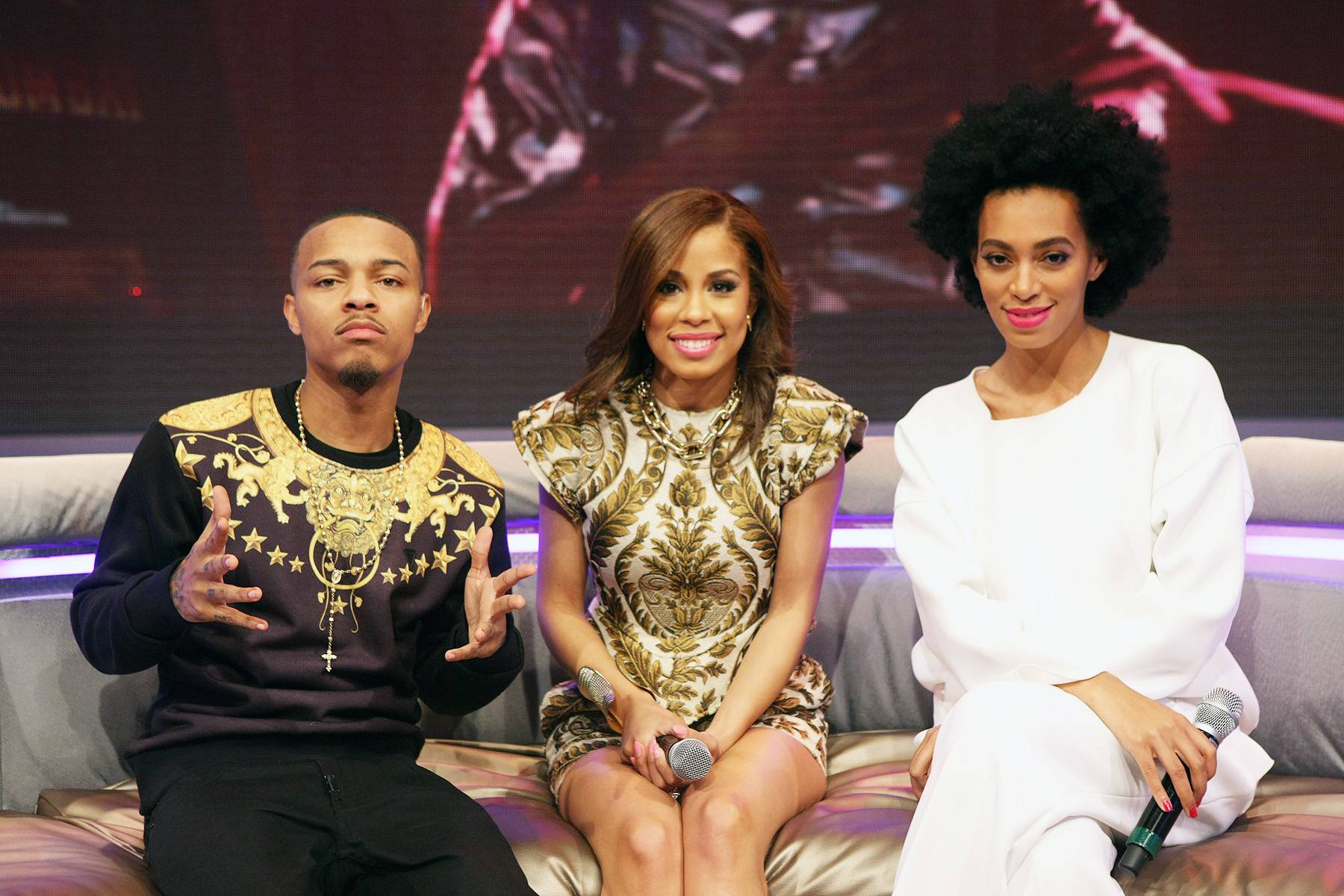 What Up? - Bow Wow, Keshia Chante and Solange Knowles chillax while on 106. (Photo: Bennett Raglin/BET/Getty Images for BET)