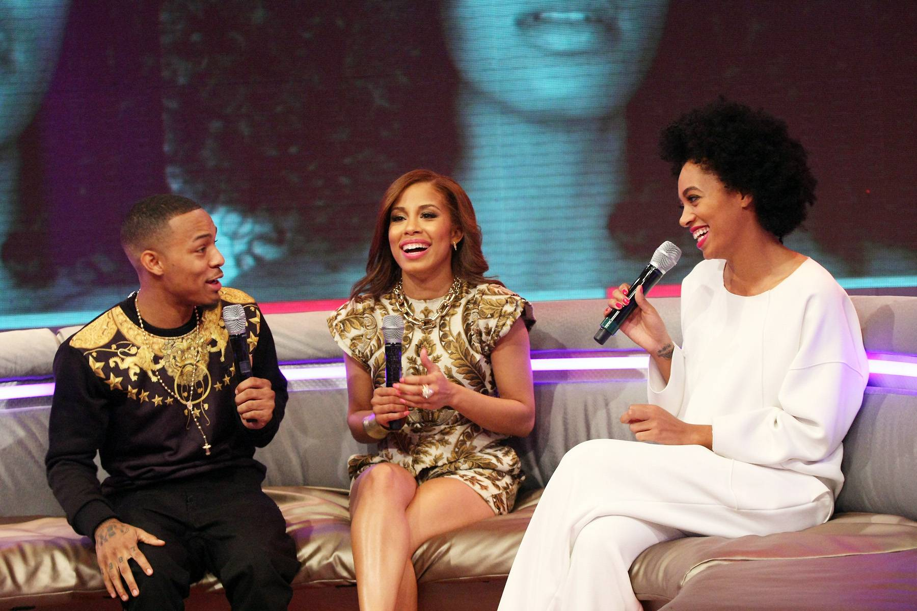 Say Word? - Bow Wow, Keshia Chante and Solange Knowles enjoy a laugh while on the 106 couch.(Photo: Bennett Raglin/BET/Getty Images for BET)