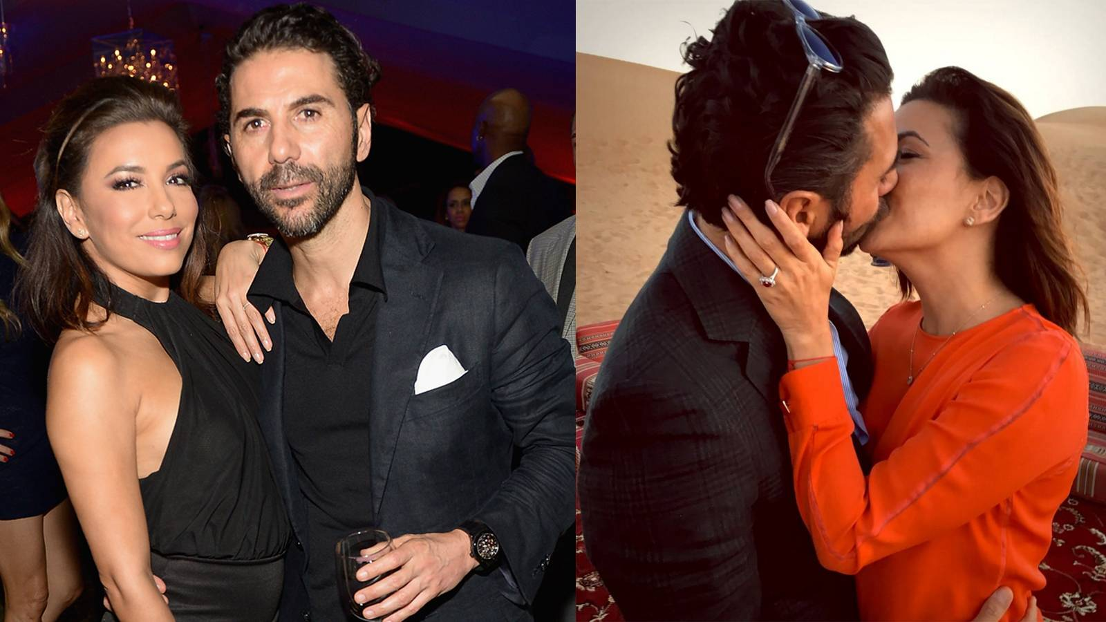 """Eva Longoria - This actress is heading back down the aisle! She shared the news on December 12 that her beau, Jose Antonio Baston, had proposed in Dubai. She wrote on Instagram, """"Ummmm so this happened….#Engaged #Dubai #Happiness."""" Her new hardware appears to be an impressive ruby set off with clusters of smaller white diamonds. Very original, indeed!  (Photos from left: Gustavo Caballero/Getty Images for Haute Living, Eva Longoria via Instagram)"""