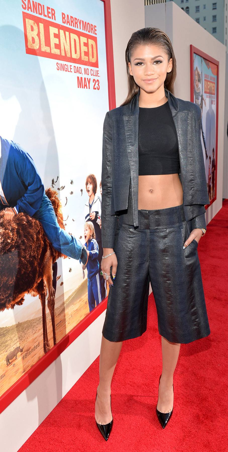 Cropped and Cute - The star does the cropped trend right, turning it out in an abs-baring top, cropped trousers and matching jacket at the L.A. movie premiere of Blended. Showing off her stunning features, she finishes with dewy skin and trademark slicked back 'do.  (Photo: Alberto E. Rodriguez/Getty Images)