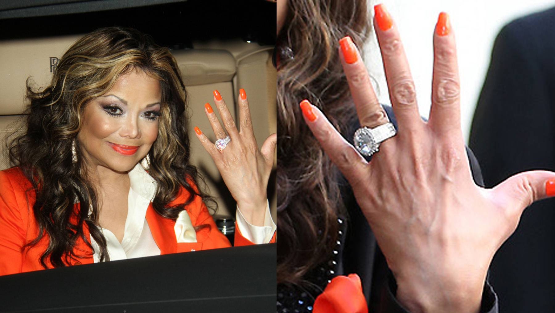 """LaToya Jackson  - The singer and reality TV star said """"yes"""" to her longtime business partner Jeffré Phillips while vacationing together in Hawaii last August. Sadly, they called off their plans this past February, but here's a closer look at what was: an enormous diamond ring, featuring a 10-carat round center stone and surrounded by another 7.5-carats of diamonds set in a platinum band.  (Photos from left: Greg Tidwell/PacificCoastNews, PacificCoastNews)"""
