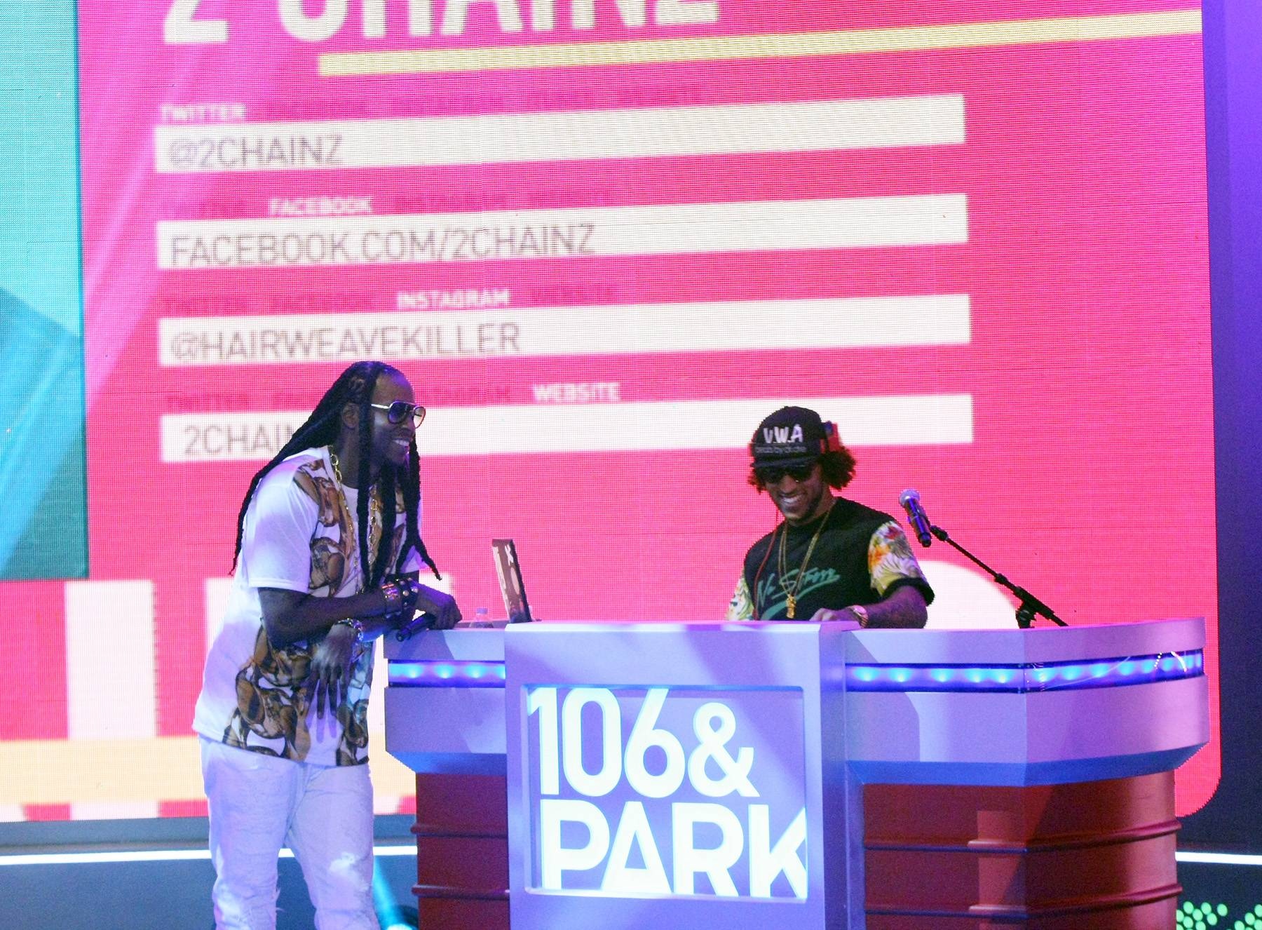 At the Booth - 2 Chainz jams at the booth with DJ E Sudd on 106. (Photo: Bennett Raglin/BET/Getty Images for BET)