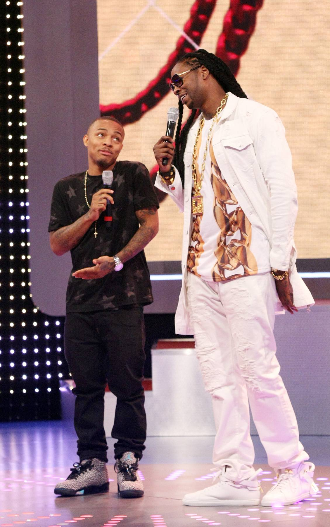 Hanh! - Bow Wow and recording artist 2 Chainz on 106. (Photo: Bennett Raglin/BET/Getty Images for BET)