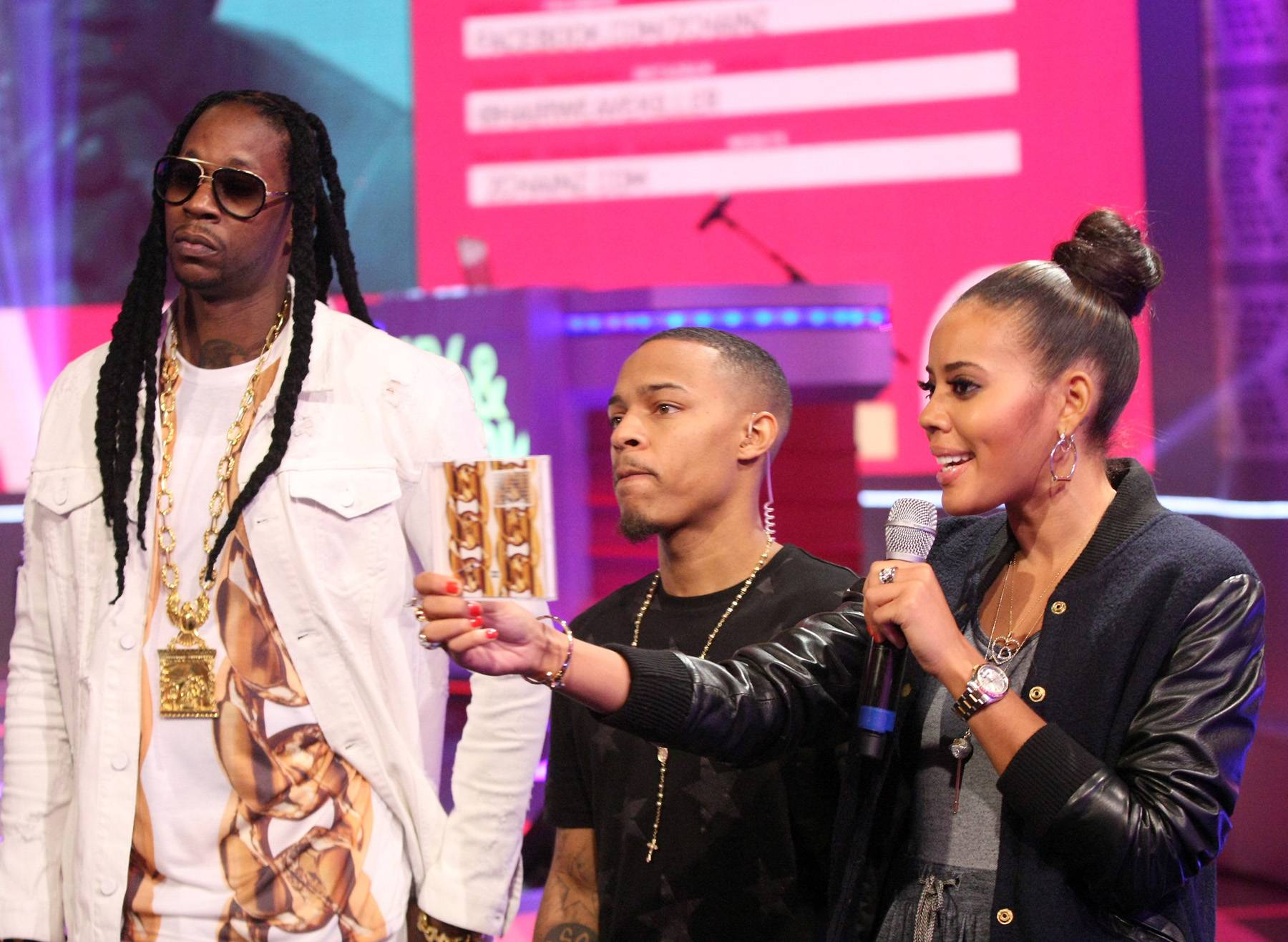 There It Is! - Angela Simmons shows off 2 Chains' newest album, B.O.A.T.S. II: Me Time. (Photo: Bennett Raglin/BET/Getty Images for BET)