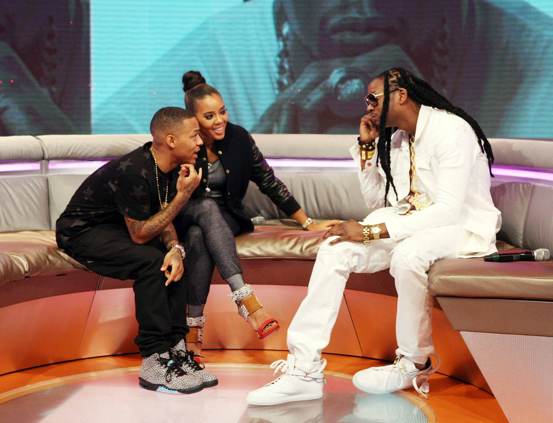 Talk It Out - Bow Wow and Angela Simmons lounge and talk new music with2 Chainz. (Photo: Bennett Raglin/BET/Getty Images for BET)