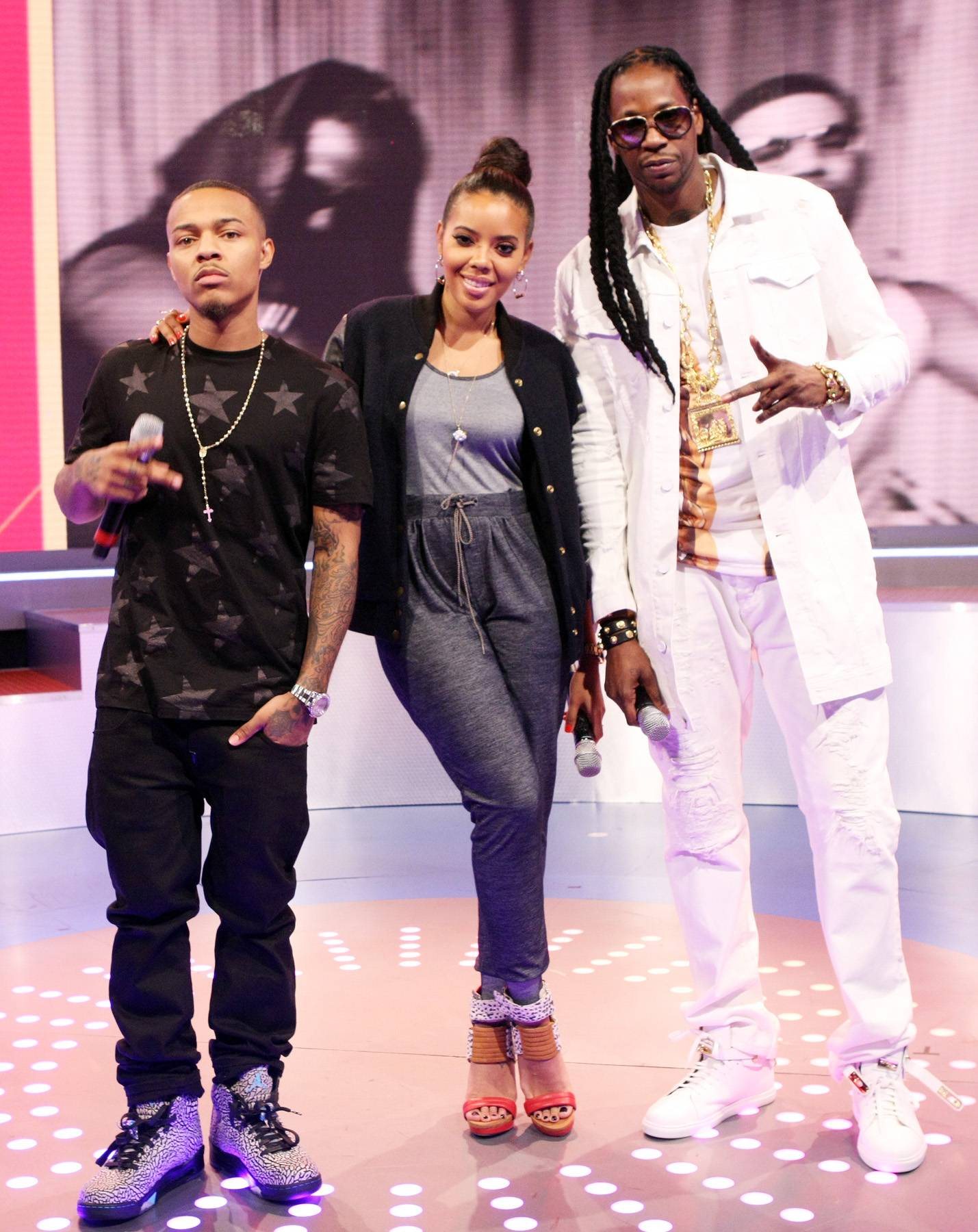 The Posse - 2 Chainz, Bow Wow, Angela Simmons coolin' on 106. (Photo: Bennett Raglin/BET/Getty Images for BET)