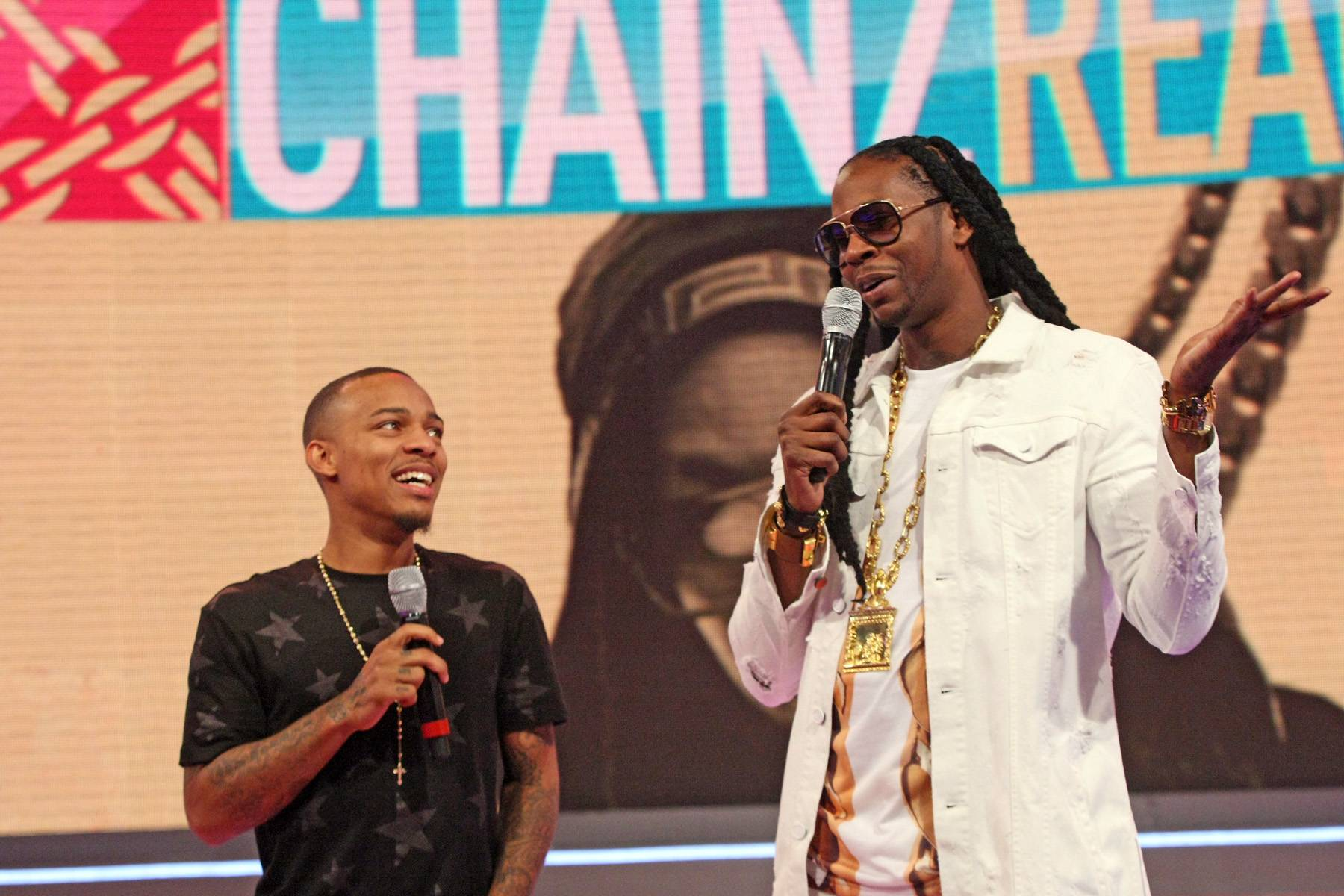 What Can I Say? - Bow Wow and 2 Chainz joke around while on set of 106. (Photo: Bennett Raglin/BET/Getty Images for BET)