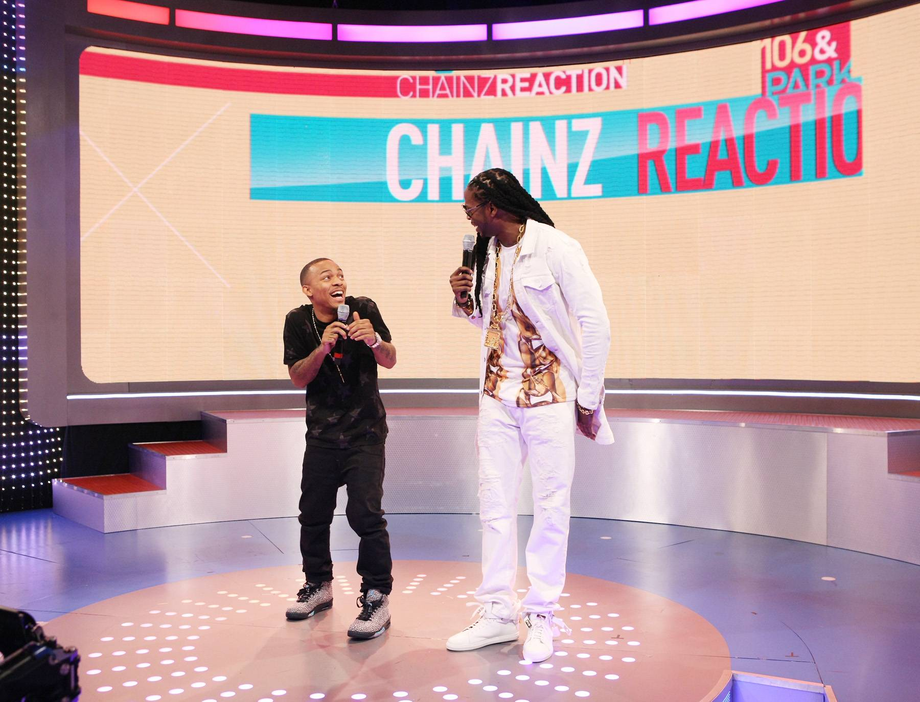 Goofing - Bow Wow and 2 Chainz share a laugh while on 106. (Photo: Bennett Raglin/BET/Getty Images for BET)