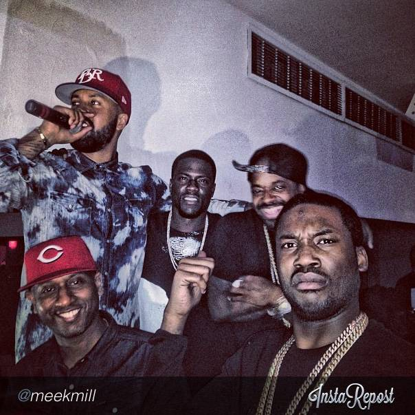 Philly in the House! - Kevin's kicked it with rapper Meek Mill before, so it should be no surprise that they linked up at the club again. Also with them is music mogul Jermaine Dupri.  (Photo: Instagram via Meek Mill)