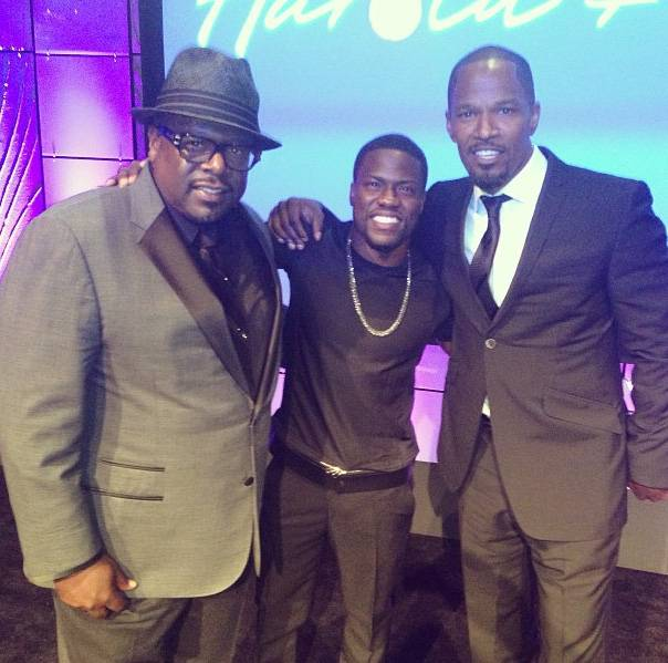 Walking With Giants - Kevin kicked it with two undisputed kings of comedy back in August: Cedric the Entertainer and Jamie Foxx.  (Photo: Instagram via Kevin Hart)