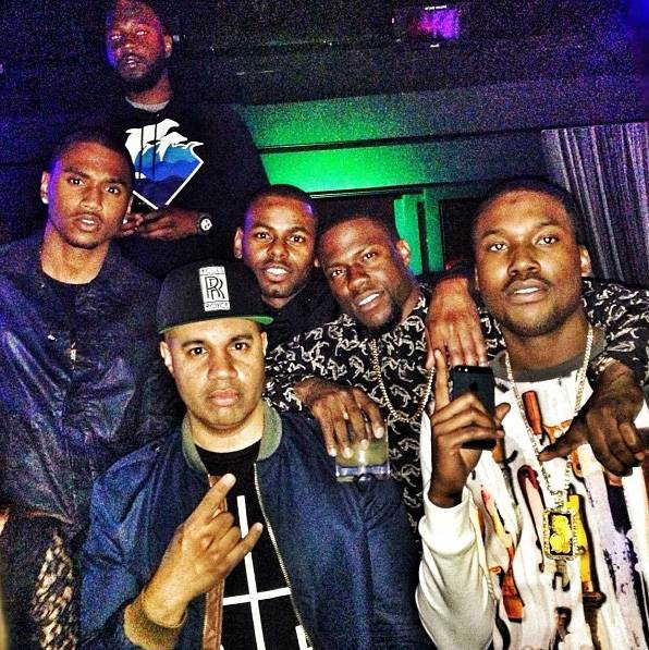 In the Mix - Two of Philadelphia's finest connect when Kevin Hart and Meek Mill build in the club. Hey, there's Trey Songz again! (Photo: Kevin Hart via Instagram)