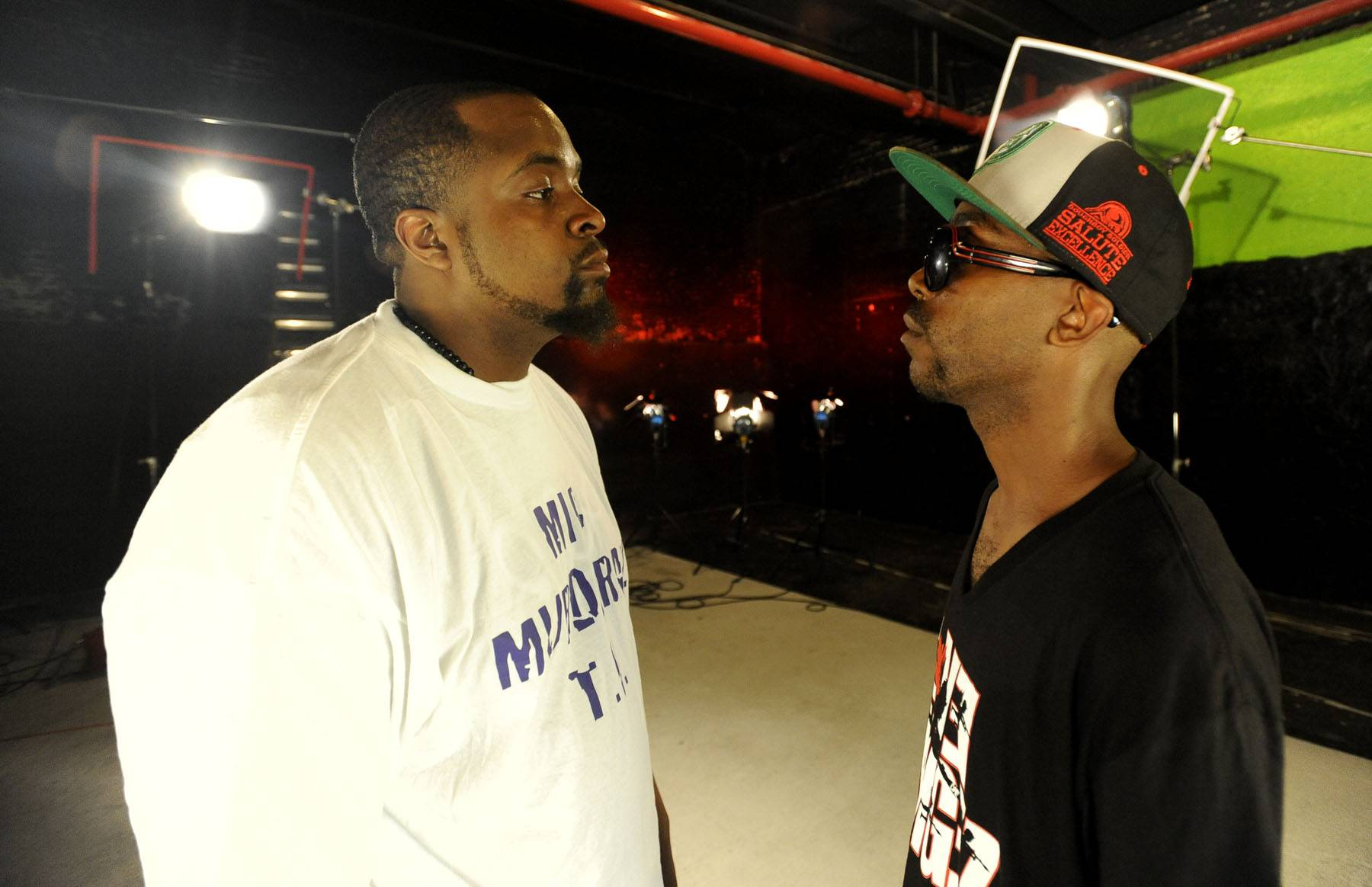 The Faceoff! - It's Ill Will versus Sco for the seventh and final Ultimate Freestyle Friday battle on 106. (Photo: John Ricard / BET)