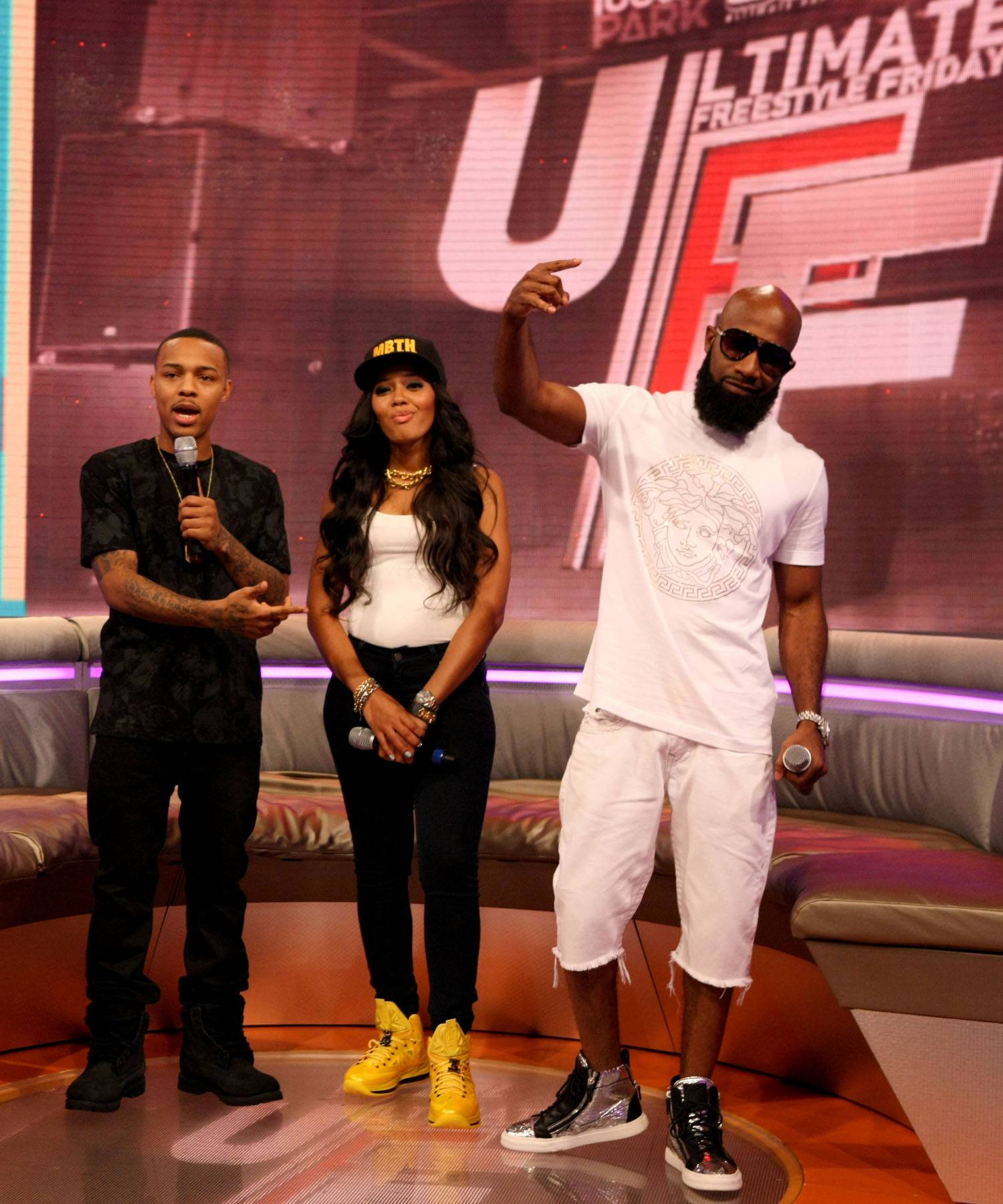 Check the Rhymes - Bow Wow, Angela Simmons and Troy Smack Mitchell on 106. (Photo: Bennett Raglin/BET/Getty Images for BET)