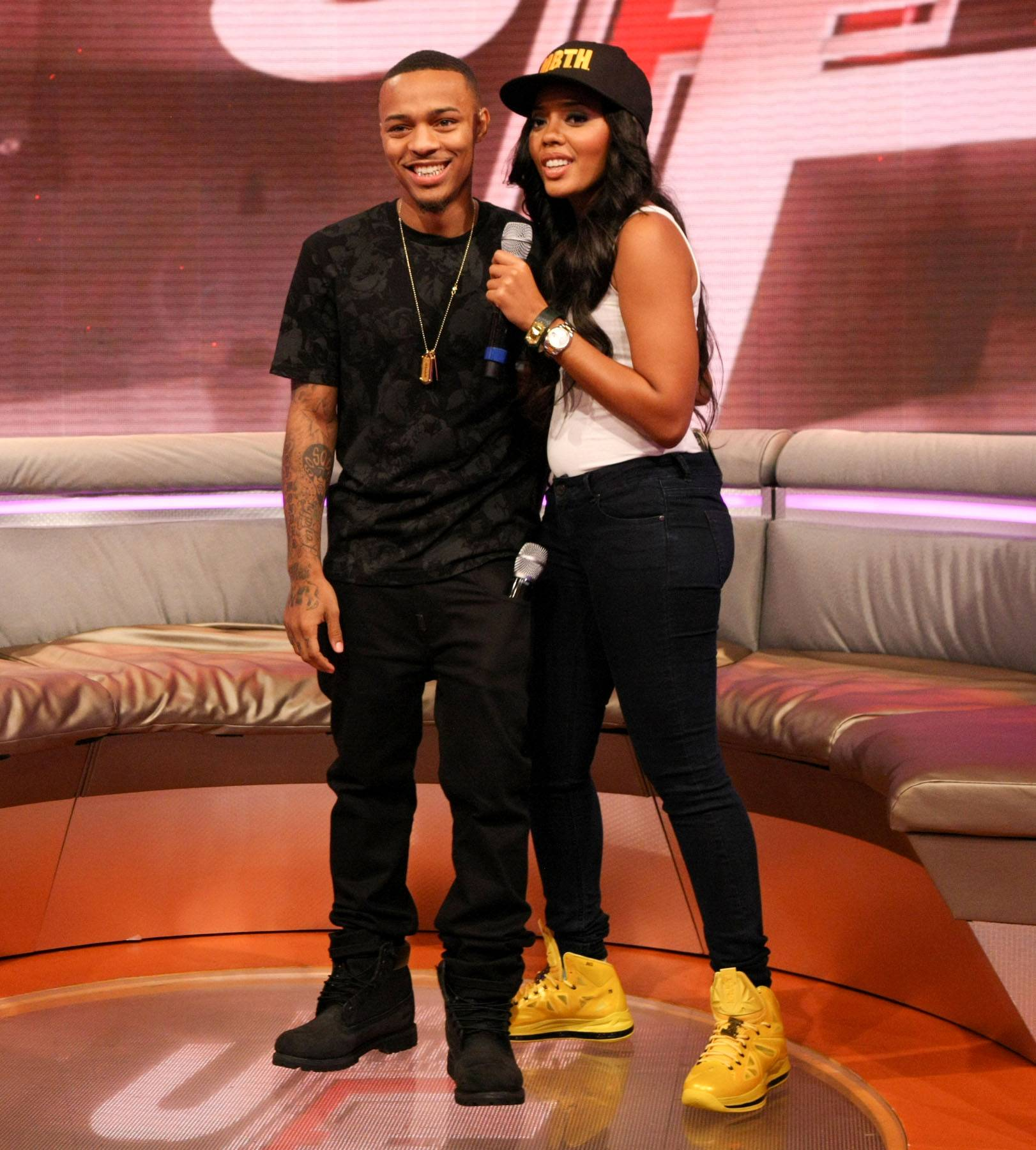 Stuntin' - Hosts Bow Wow and Angela Simmons on the set of 106. (Photo: Bennett Raglin/BET/Getty Images for BET)