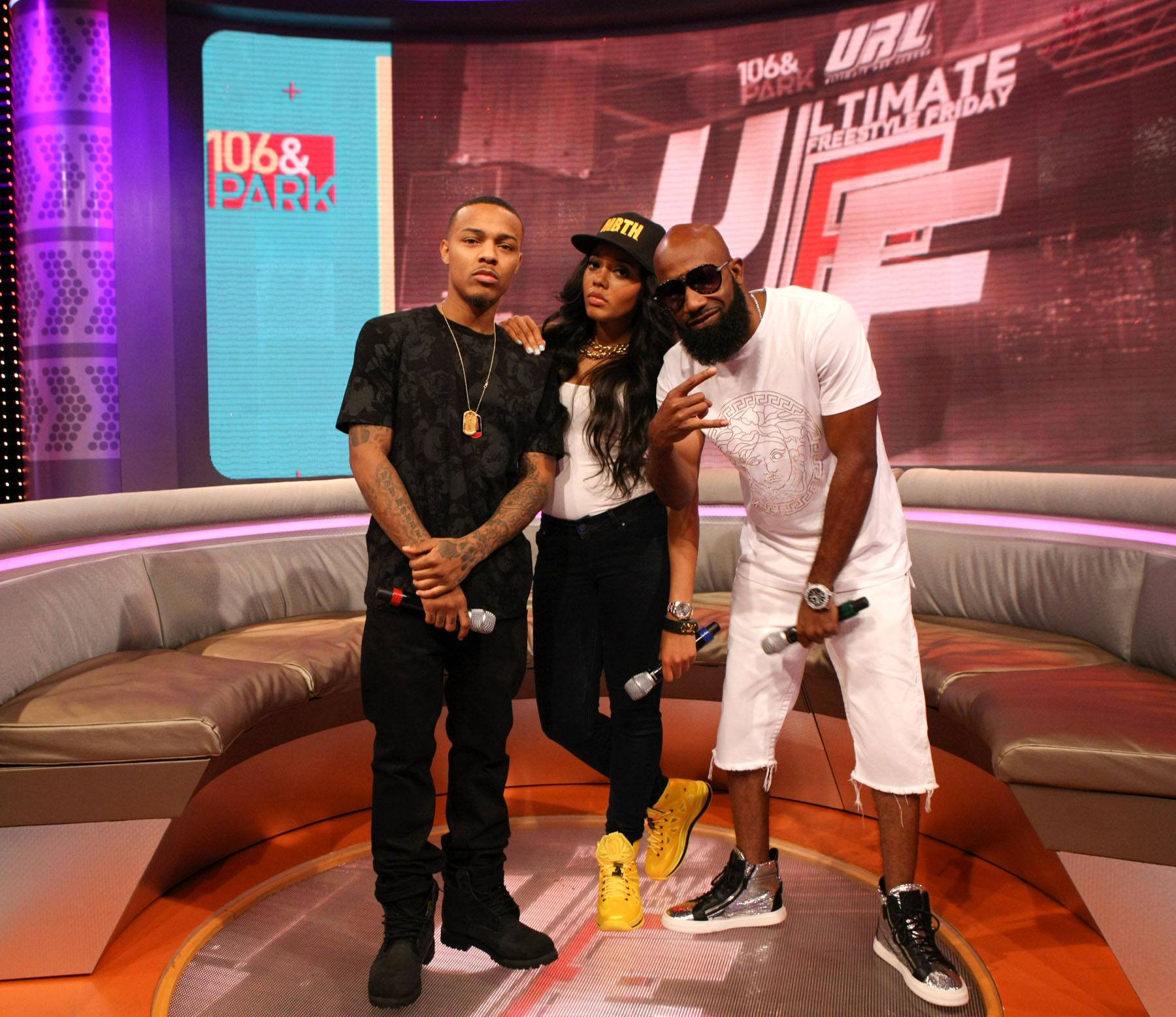 Maxing and Relaxing - Bow Wow, Angela Simmons and Troy Smack Mitchell do a gangster lean on 106. (Photo: Bennett Raglin/BET/Getty Images for BET)