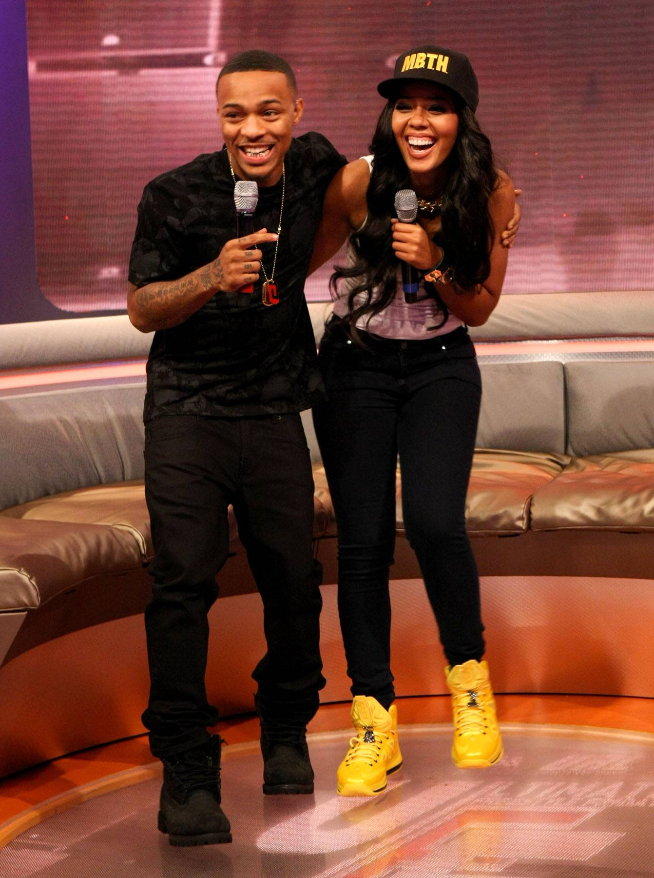 Buddies - Hosts Bow Wow and Angela Simmons laughing on 106. (Photo: Bennett Raglin/BET/Getty Images for BET)
