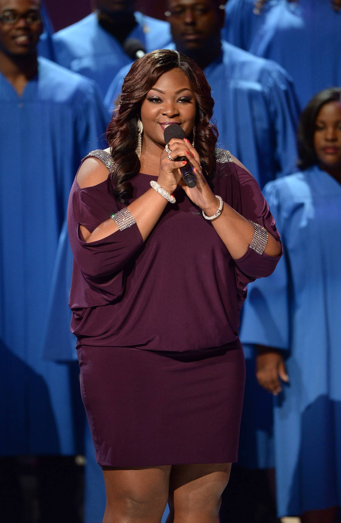 """Candice Gets It Right - American Idol winner Candice Glover showed us exactly why America fell in love with her on the show. The Music Speaks songstress sang her heart out while performing """"Center of My Joy"""" in tribute to Richard Smallwood.(Photo: Jason Kempin/Getty Images for BET)"""