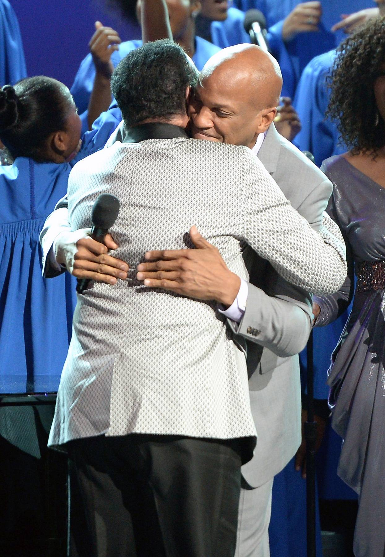 Brotherly Love - Donnie McClurkin and Richard Smallwood hug it out on stage after their moving joint performance.(Photo: Jason Kempin/Getty Images for BET)