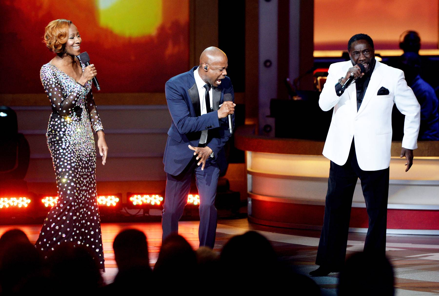 """Praise On High - Kem, Le'Andria Johnson and Eddie Levert turned up the praise just when we thought the show couldn't get any better. Watch the trio perform """"Jesus"""" on Sunday, April 6 at 8P/7C.(Photo: Jason Kempin/Getty Images for BET)"""