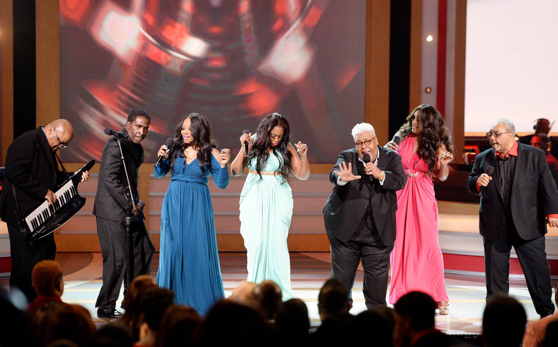 """The Voices - After their indivdual performances, SWV joined The Rance Allen Group and brought the house down with the collaborative number, """"Got Me Dancin'.""""(Photo: Jason Kempin/Getty Images for BET)"""