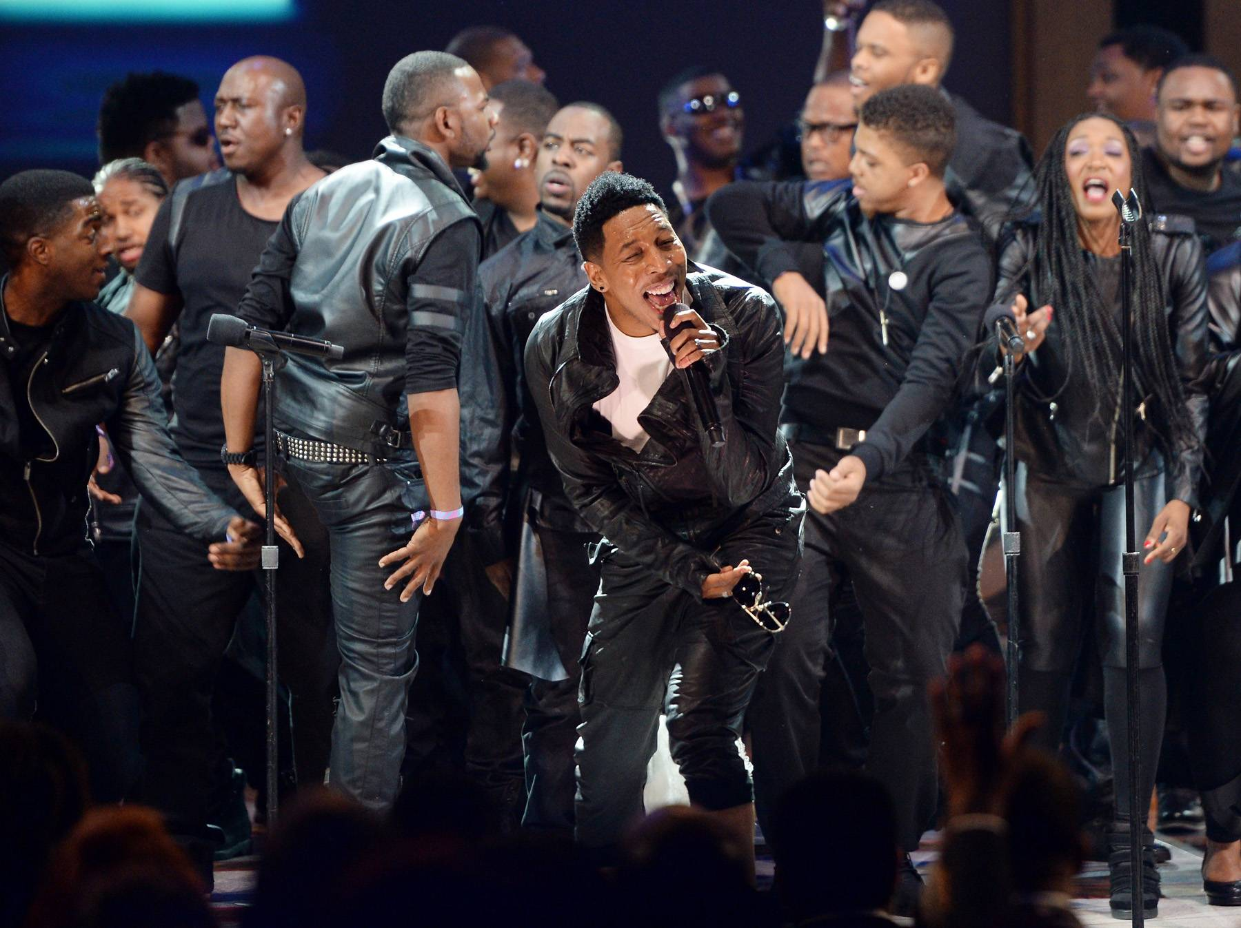 """A """"Great"""" Opening Act - Bringing the crowd to their feet, Deitrick Haddon kicks off Celebration of Gospel with his signature high energy and a swagged out choir to perform the bass thumping """"Great God.""""(Photo: Jason Kempin/Getty Images for BET)"""