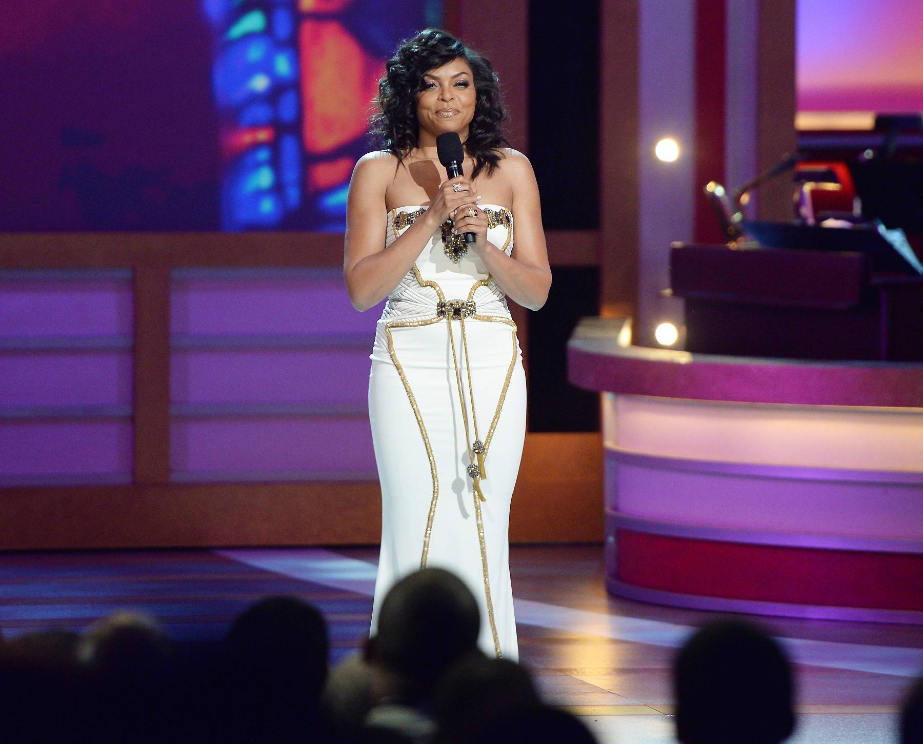 New Host Swag - Taraji P. Henson is met with the audience's warm reception as she takes the stage to spearhead hosting duties.(Photo: Jason Kempin/Getty Images for BET)