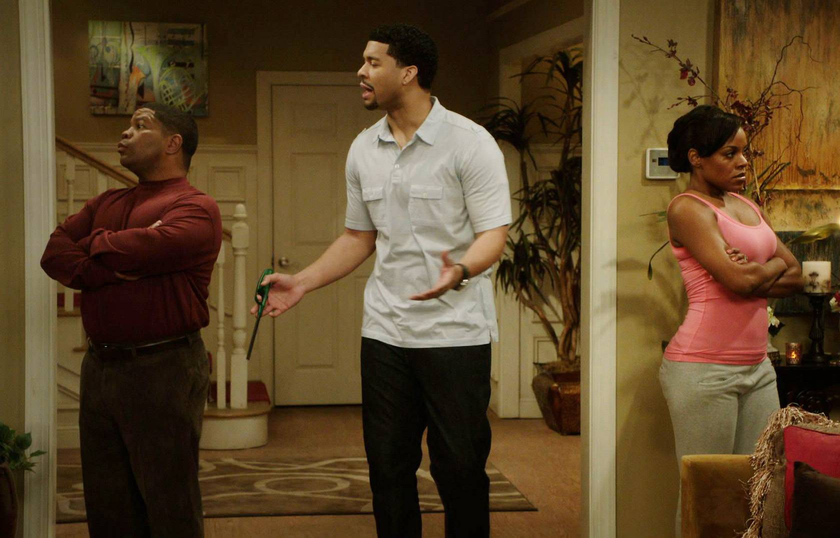 Don't Kill My Vibe - Yeah, Charles isn't trying to hear that Stacy doesn't like her new boo, because that means he can't have the house to himself.(Photo: BET)