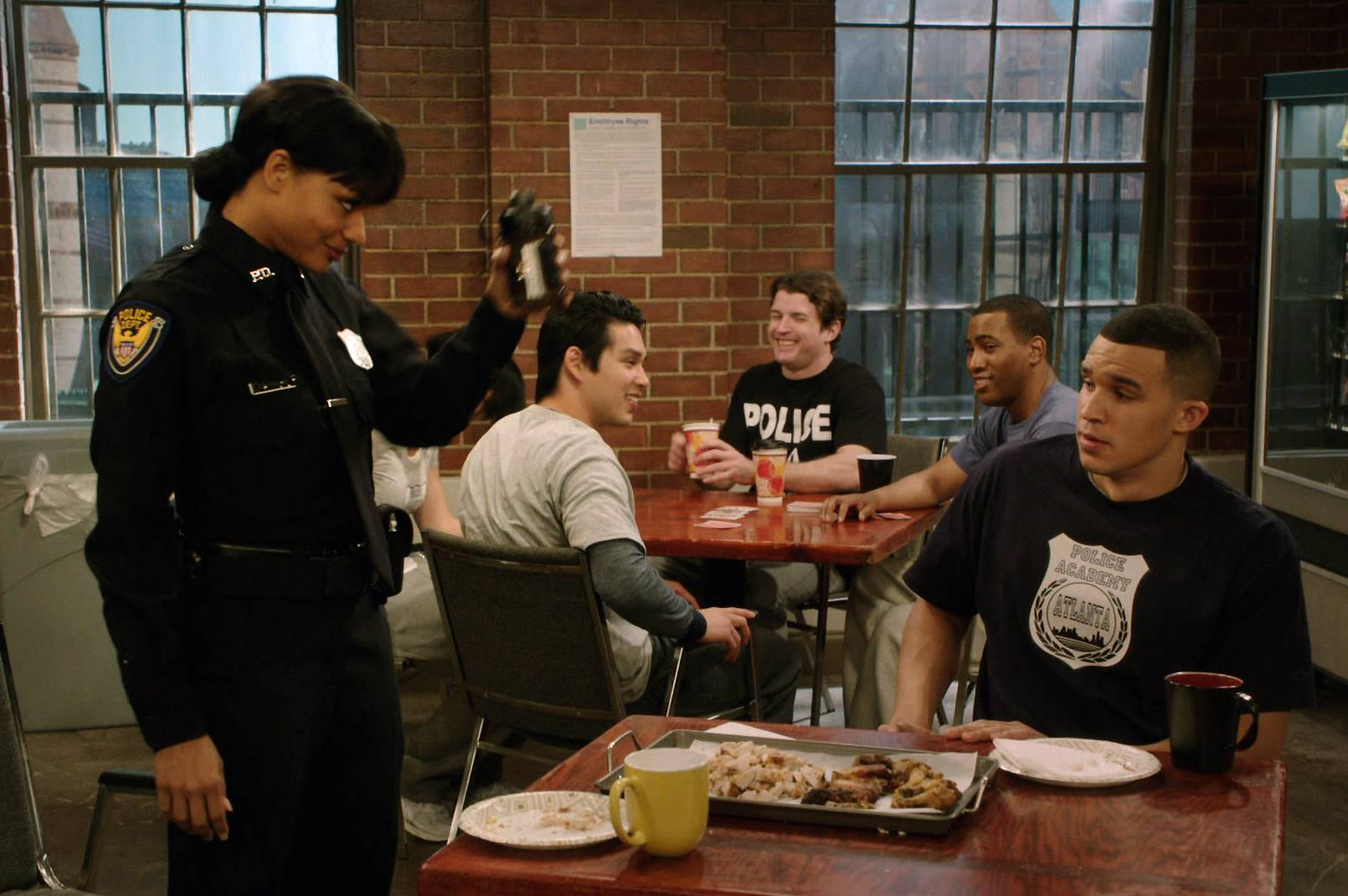 She Ain't Done Yet - Just to make sure that her fellow police officers understand just how crazy she is, Kita pulls a prank on them and scares them silly.Want to see more crazy antics? Tune in Tuesdays at 10:30/9:30C for all-new episodes of Let's Stay Together.(Photo: BET)