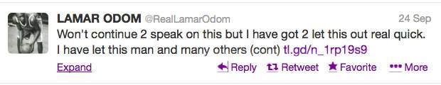 """A """"Dark Time"""" - For the first time in months, Lamar took to Twitter on Sept. 24 to defend the Kardashian klan after his father Joe Odom's comments. ?He disrespecting the ONLY FAMILY that has loved me without expecting anything in return,? he wrote. ?They are the ONLY ones that have been here consistently 4 me during this dark time.?(Photo: Twitter/realLamarOdom)"""