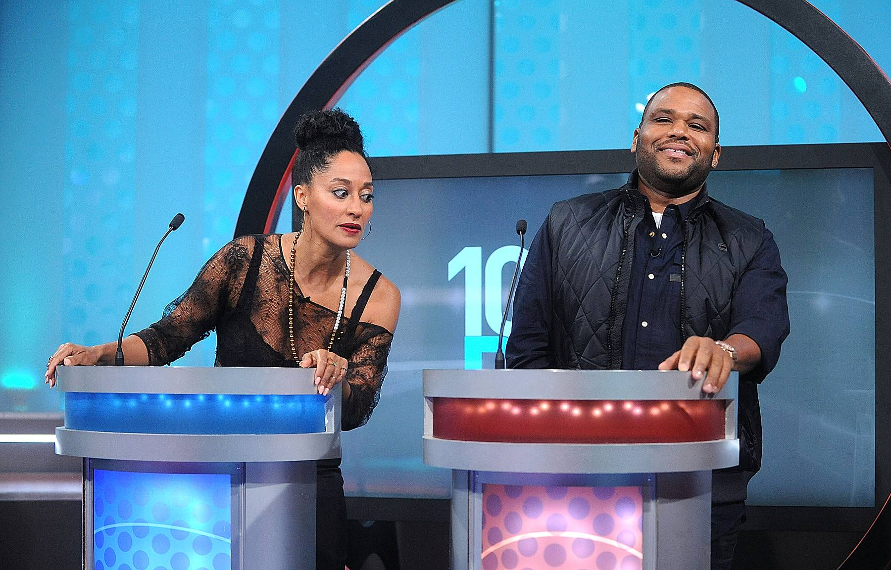 Game Time  - Tracee Ellis Ross and Anthony Anderson went head to head on BET's 106 & Park. These two were challenged to decode rap lyrics and movie quotes to see just how knowledgeable they are about pop culture. (Photo: Brad Barket/BET/Getty Images for BET)