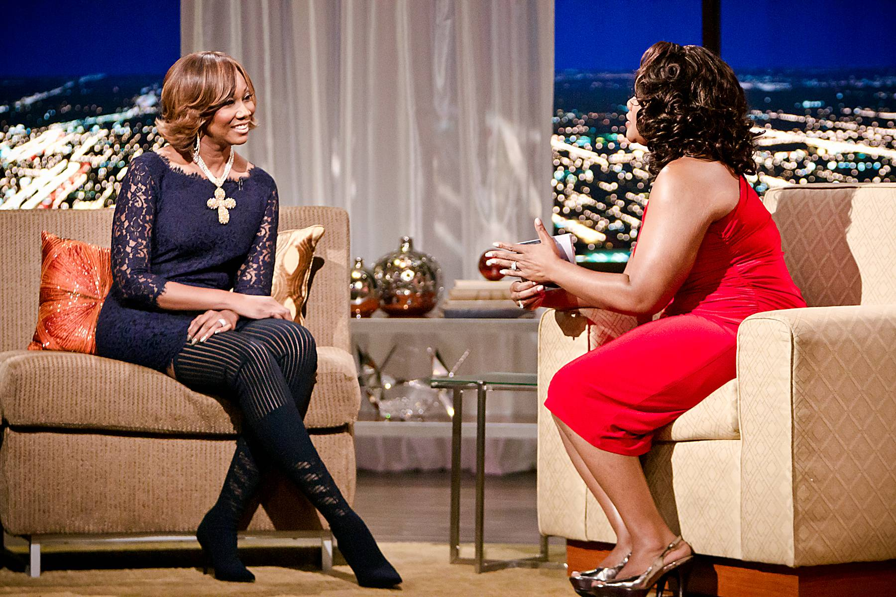 Never Without a Gift - During their discussion Adams discussed purpose and why one should never feel that God has left them without a gift. ?God builds you. He never tears you down. He builds you up. And he makes you happier and happier, if you allow him,? says Adams.\r\r(Photo: Darnell Williams/BET)