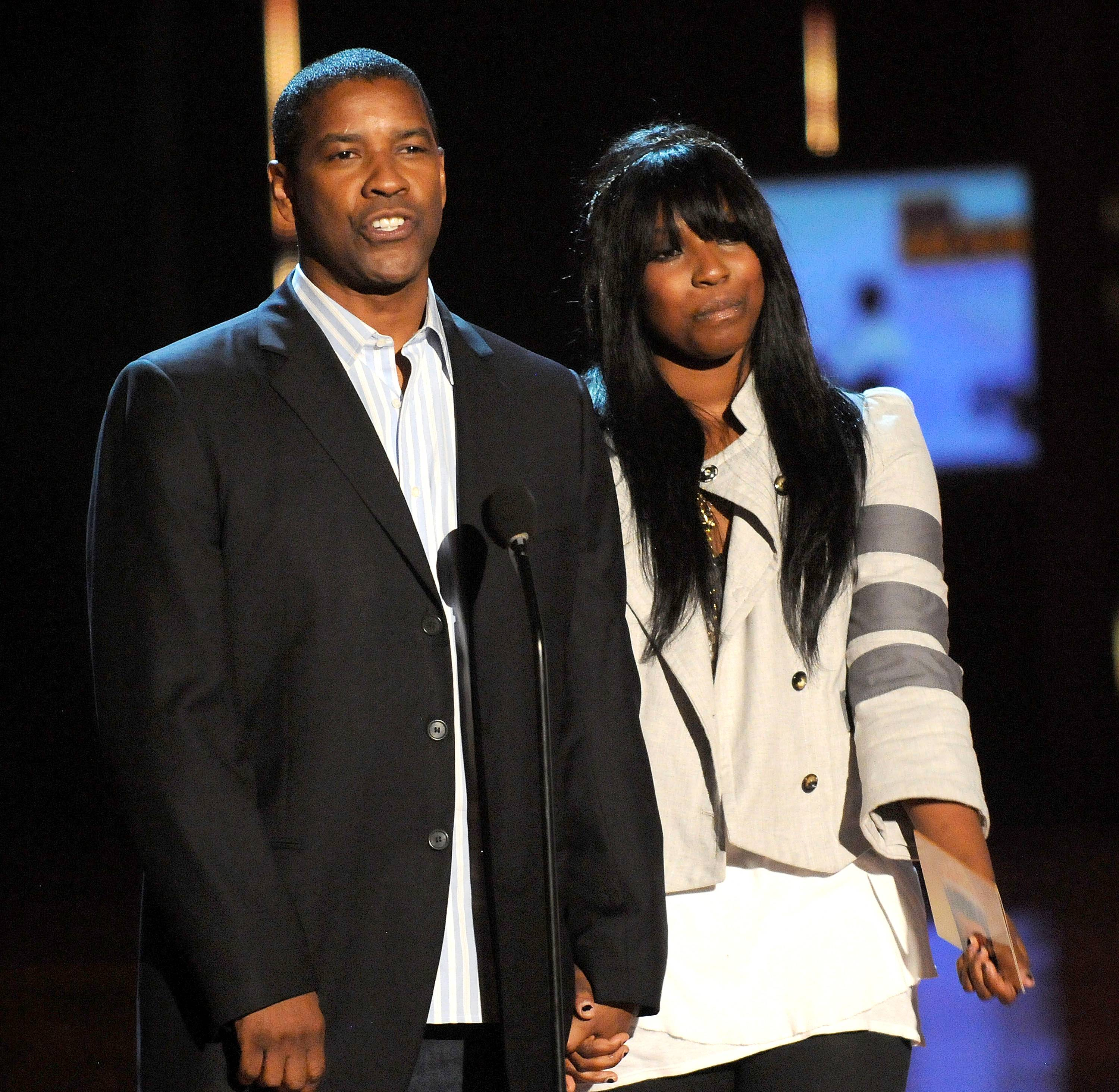 """Denzel Washington and daughter Olivia - """"I try to teach my children there are going to be obstacles. Someone may not like you just because they don?t like themselves. But, don?t you get bogged down.""""   (Photo by Kevin Mazur/WireImage)"""